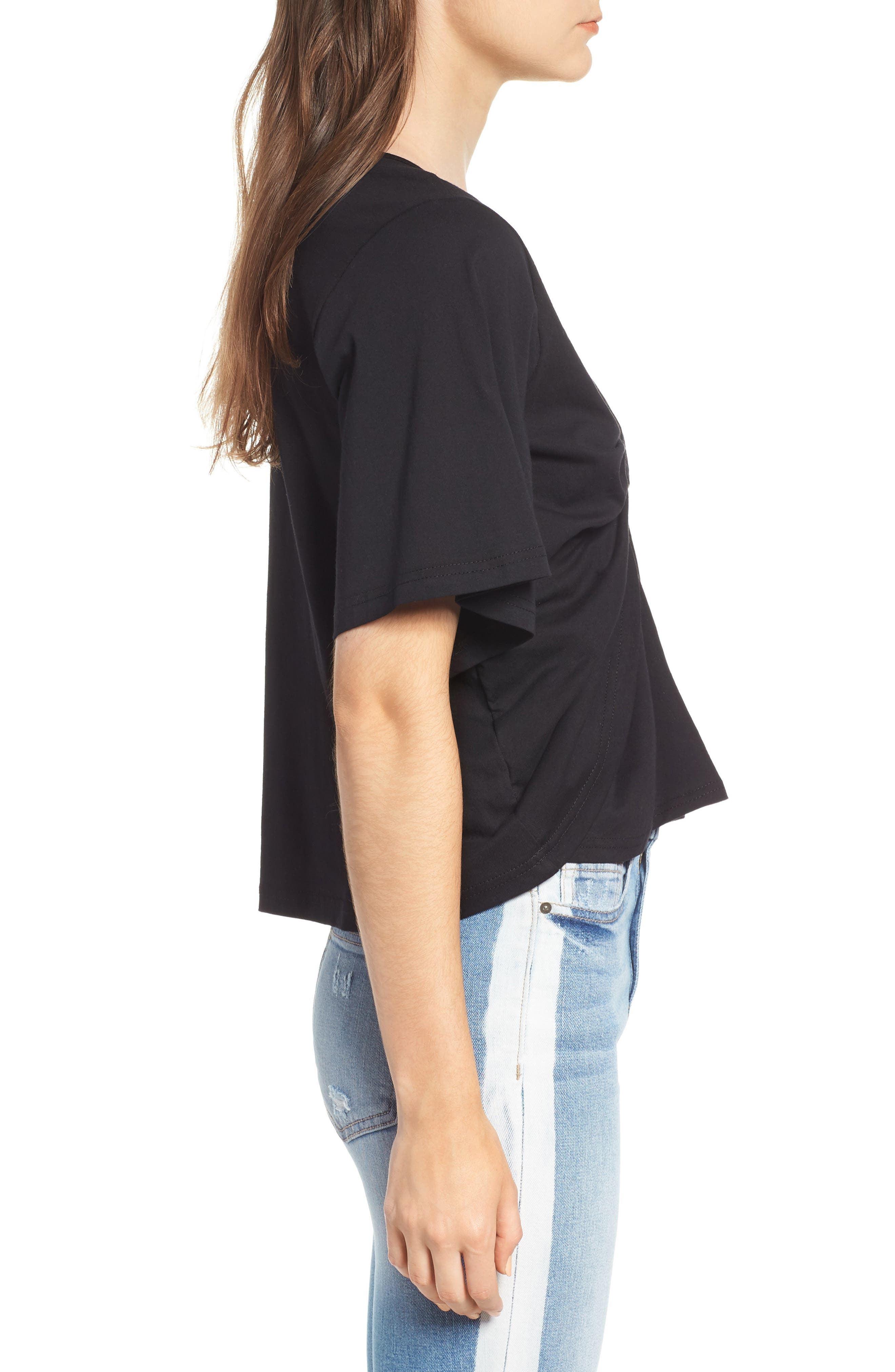 Knot Front Flutter Sleeve Tee,                             Alternate thumbnail 3, color,                             001