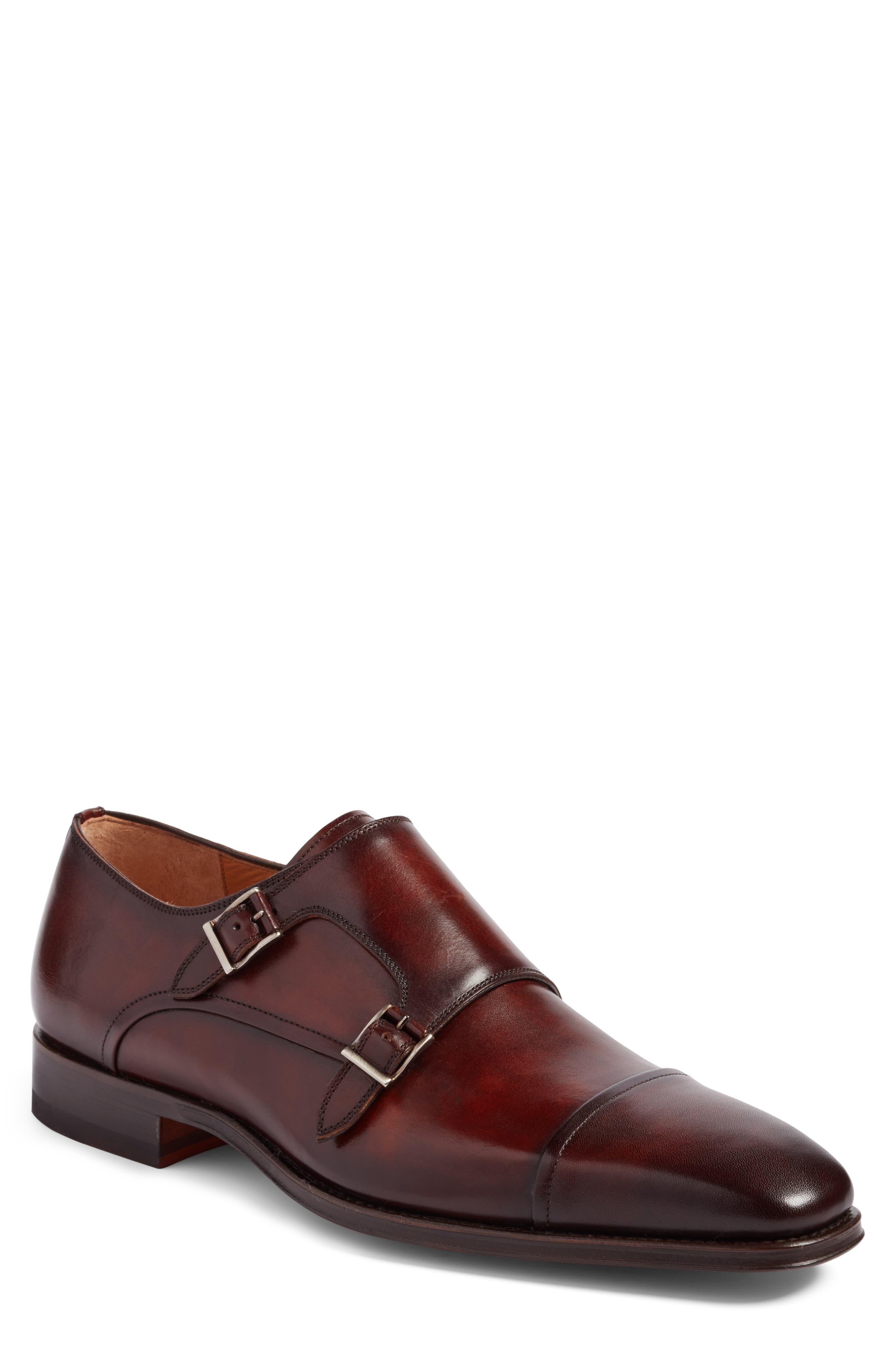 Silvio Double Monk Strap Shoe,                         Main,                         color, TOBACCO LEATHER