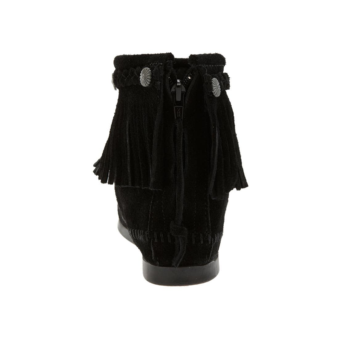 Fringed Moccasin Bootie,                             Alternate thumbnail 2, color,                             BLACK