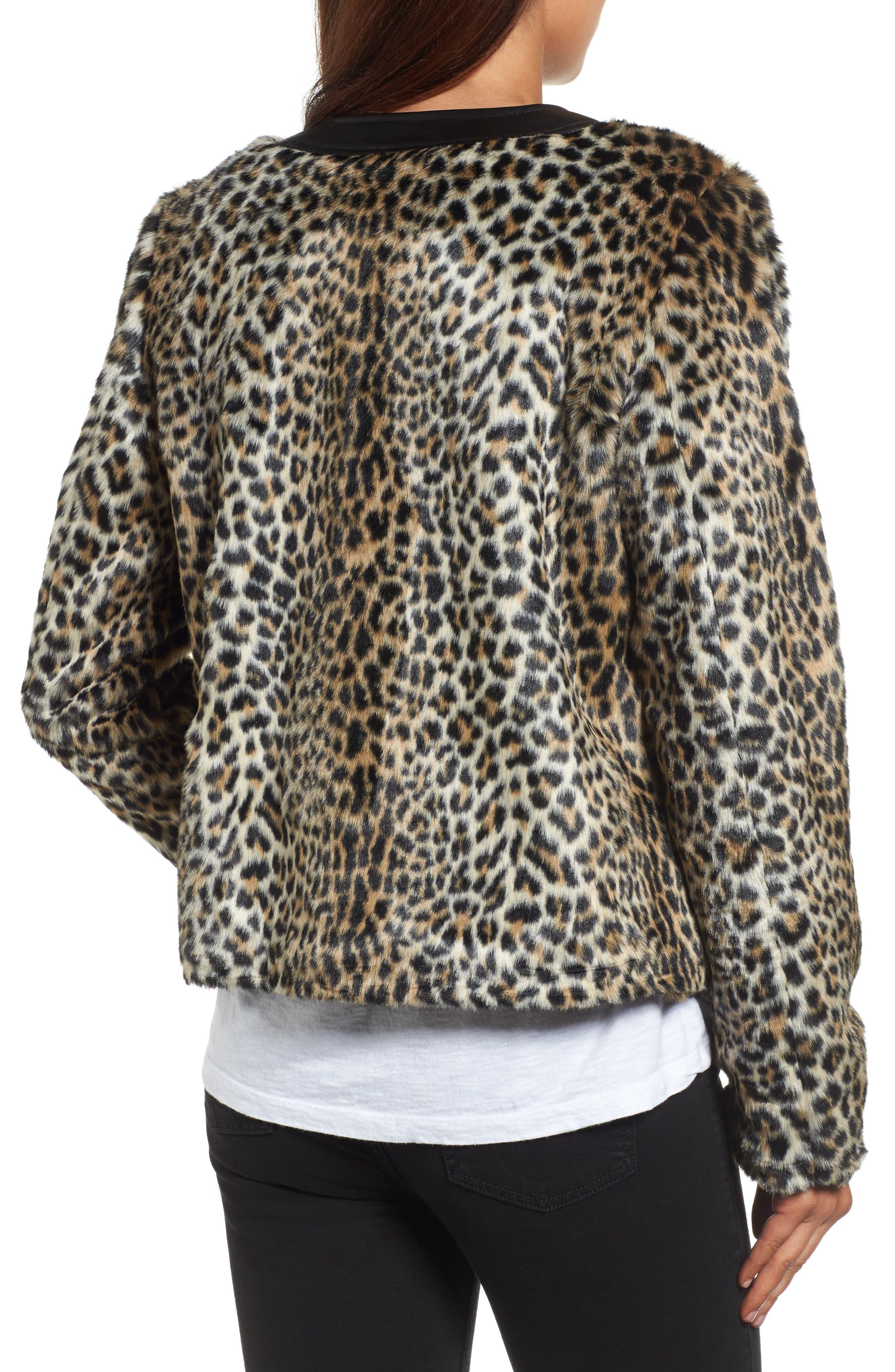 Courtney Faux Leopard Fur Jacket,                             Alternate thumbnail 2, color,                             209