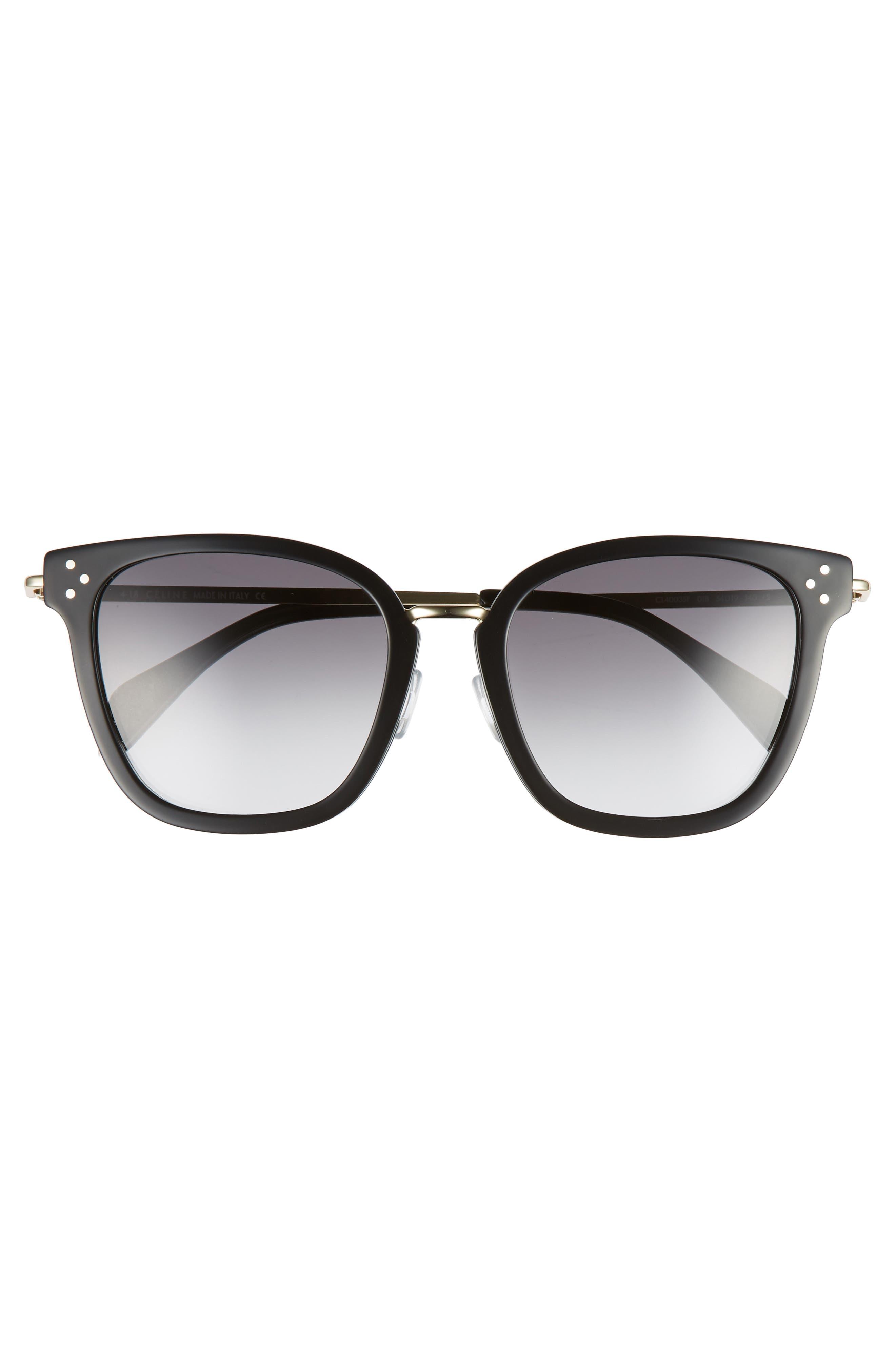 CELINE,                             Special Fit 54mm Sunglasses,                             Alternate thumbnail 3, color,                             BLACK/ GOLD/ SMOKE