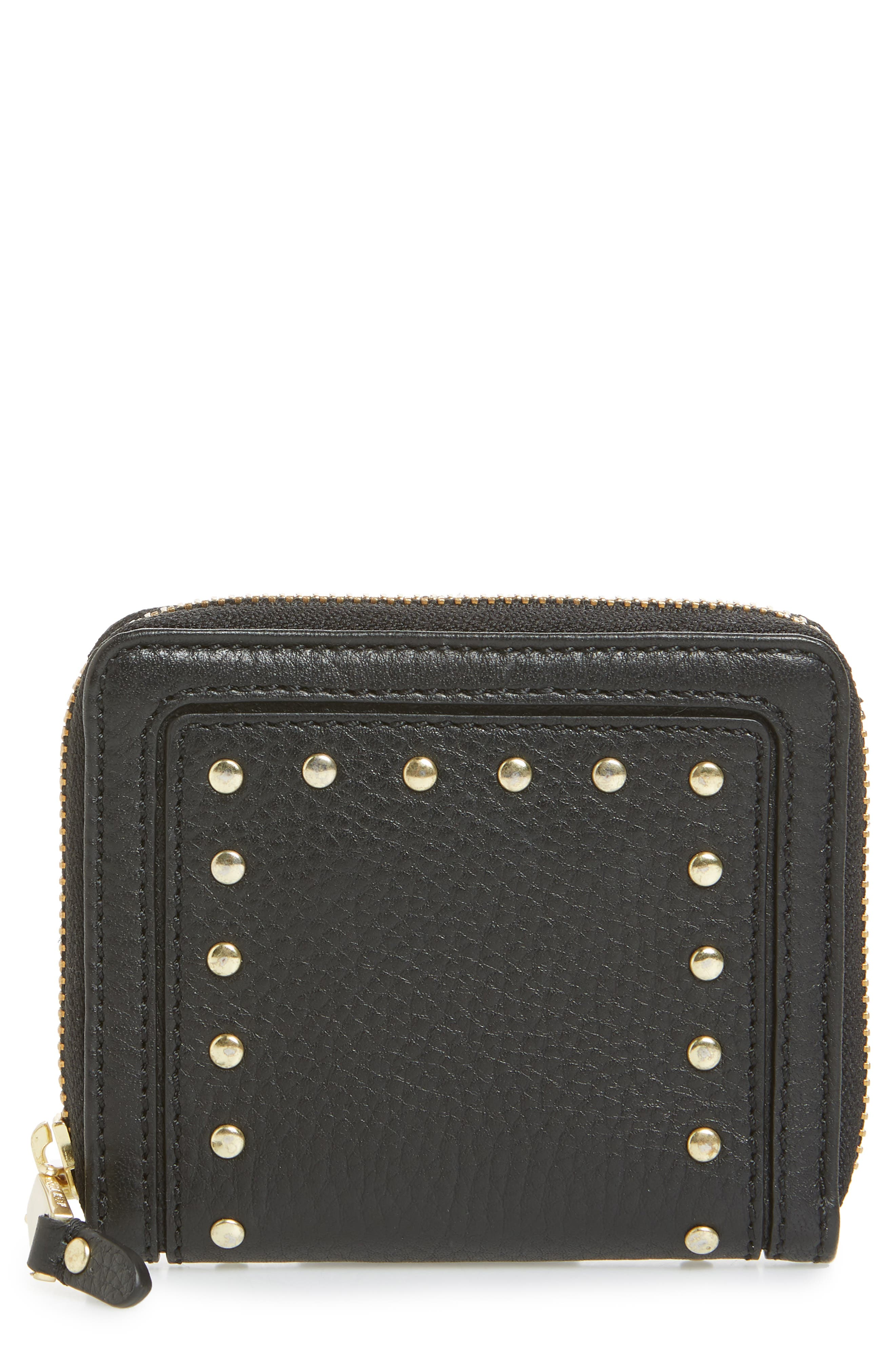 Cassidy Small RFID Leather Zip Wallet,                             Main thumbnail 1, color,                             001
