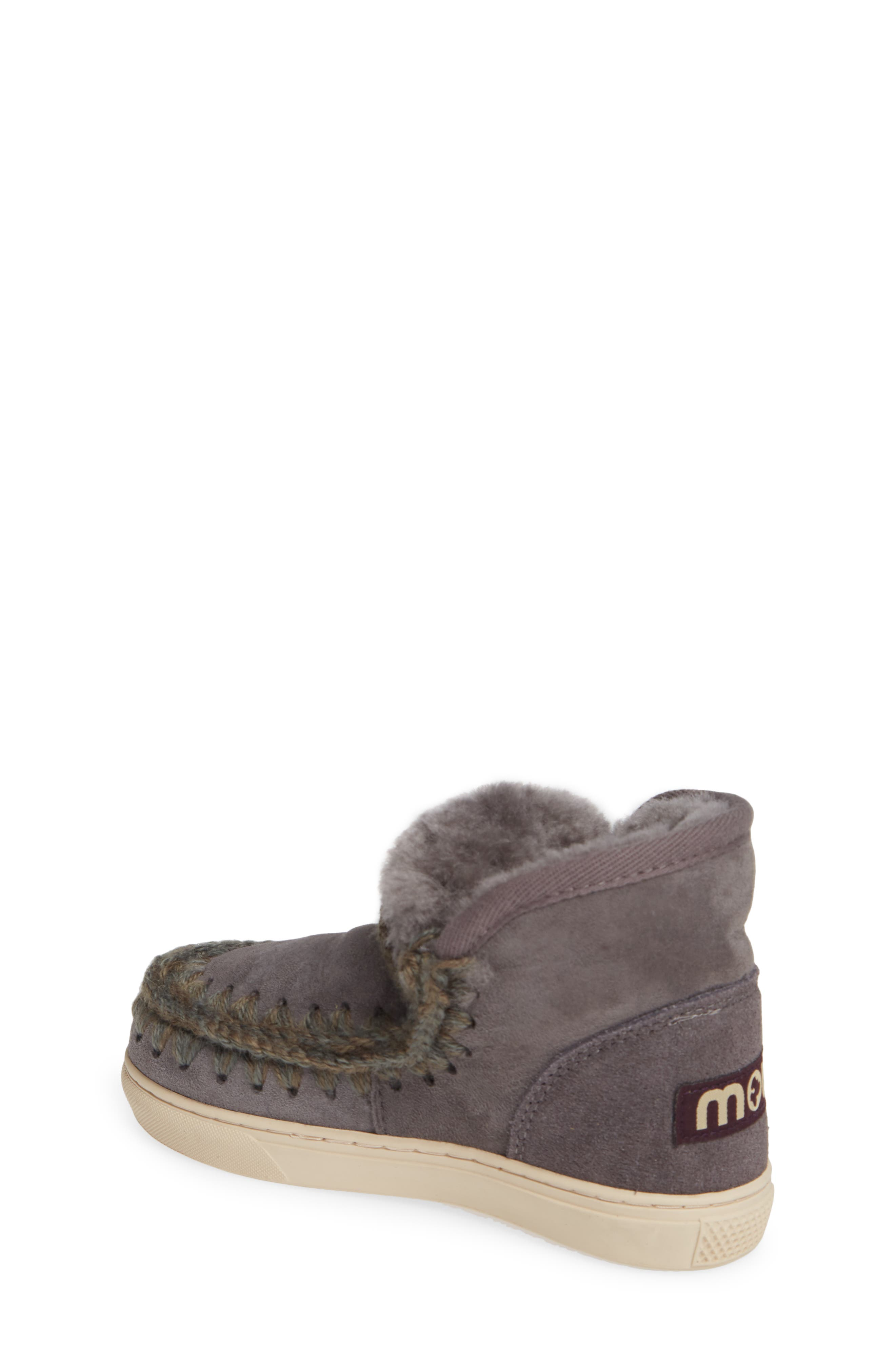 MOU,                             Embellished Genuine Shearling Sneaker Boot,                             Alternate thumbnail 2, color,                             IRON