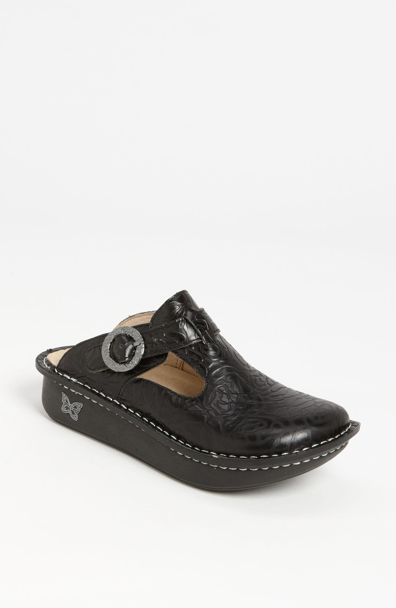 'Classic' Clog,                             Alternate thumbnail 2, color,                             BLACK EMBOSSED ROSE LEATHER
