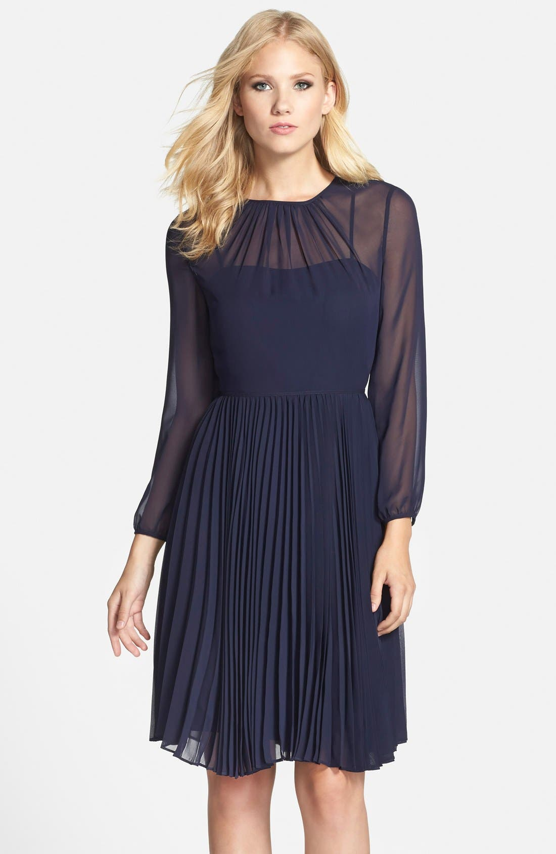 ELIZA J Pleated Chiffon Fit & Flare Dress, Main, color, 410