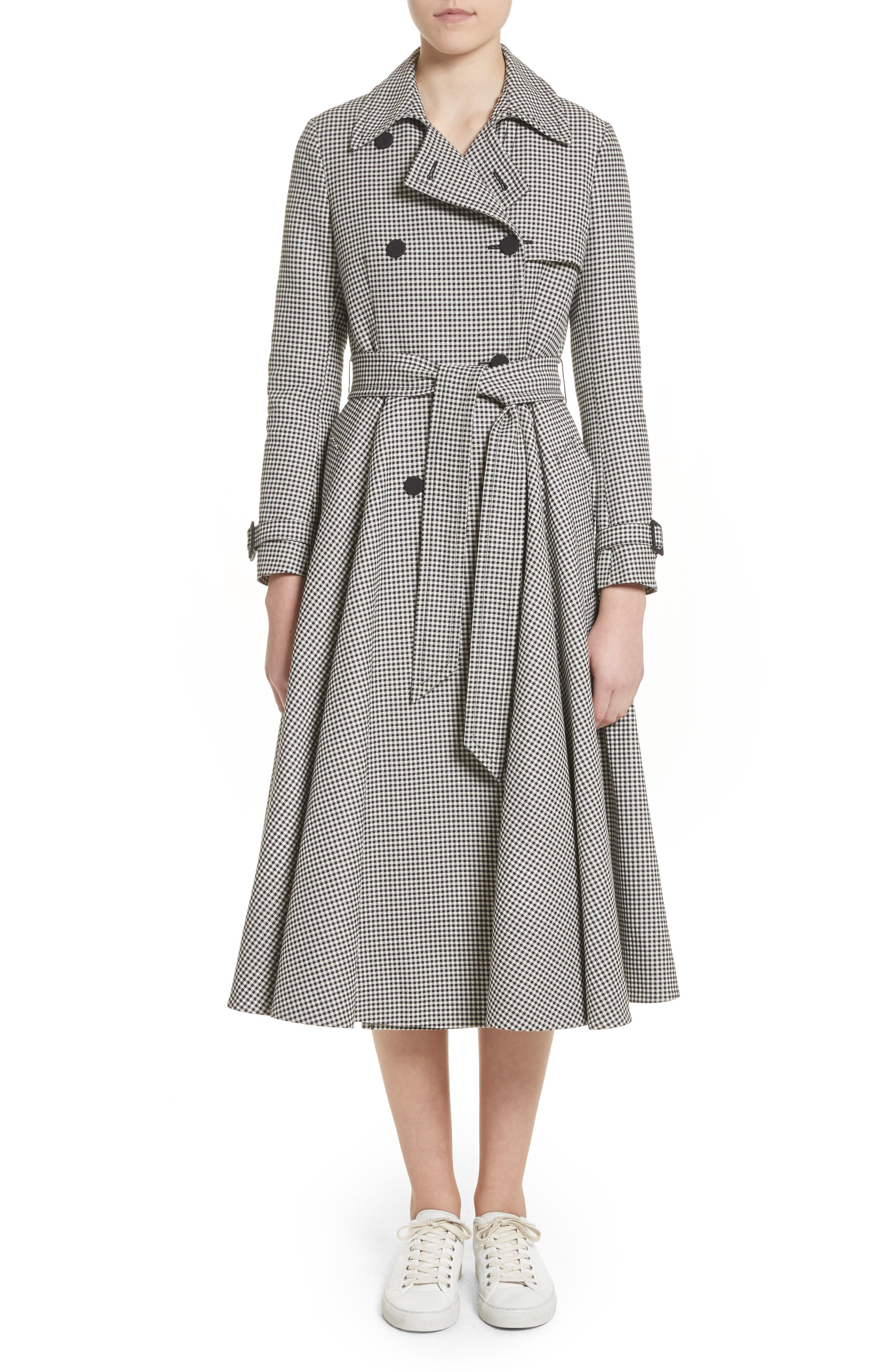 Skirted Gingham Coat,                         Main,                         color, 001