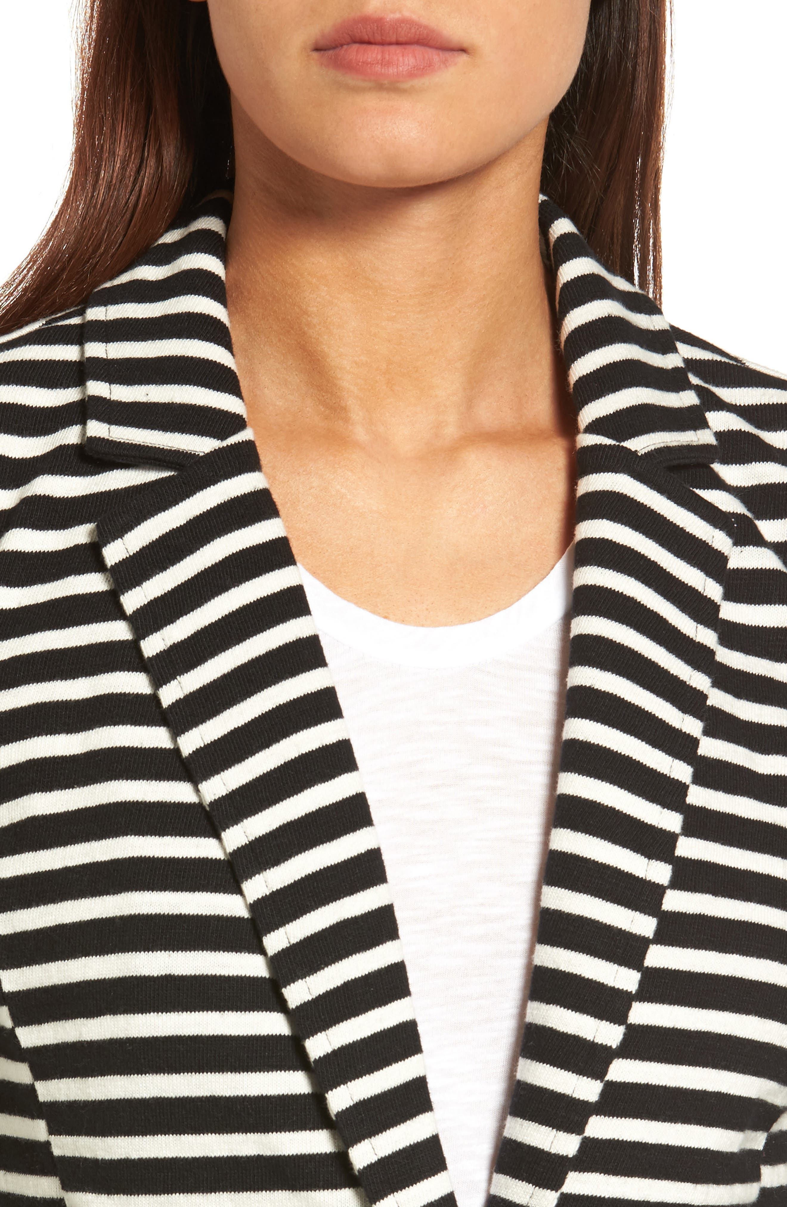 CASLON<SUP>®</SUP>,                             Knit One-Button Blazer,                             Alternate thumbnail 5, color,                             BLACK- IVORY STRIPE
