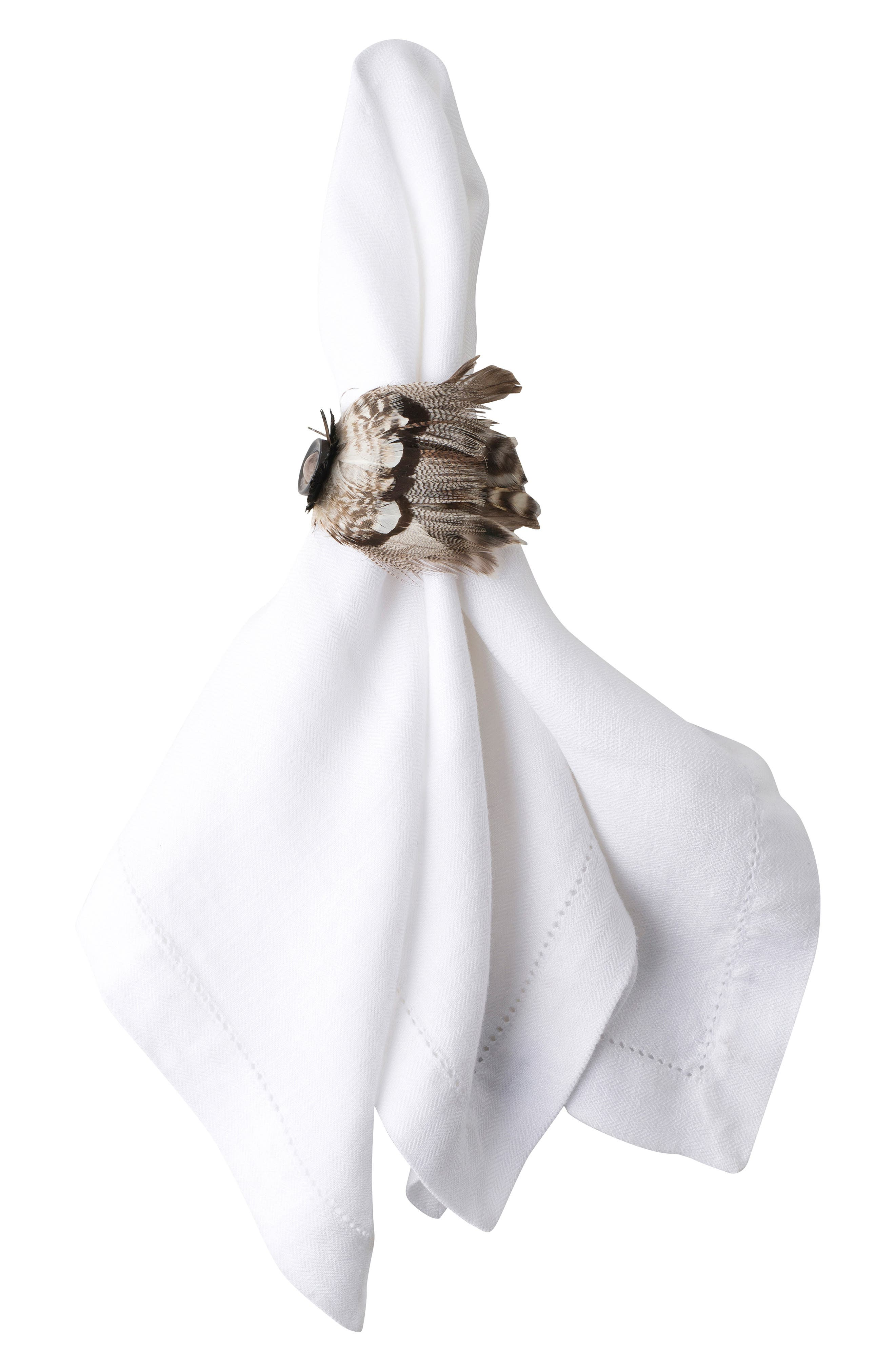 Juliska Feather Napkin Ring Size One Size  Brown