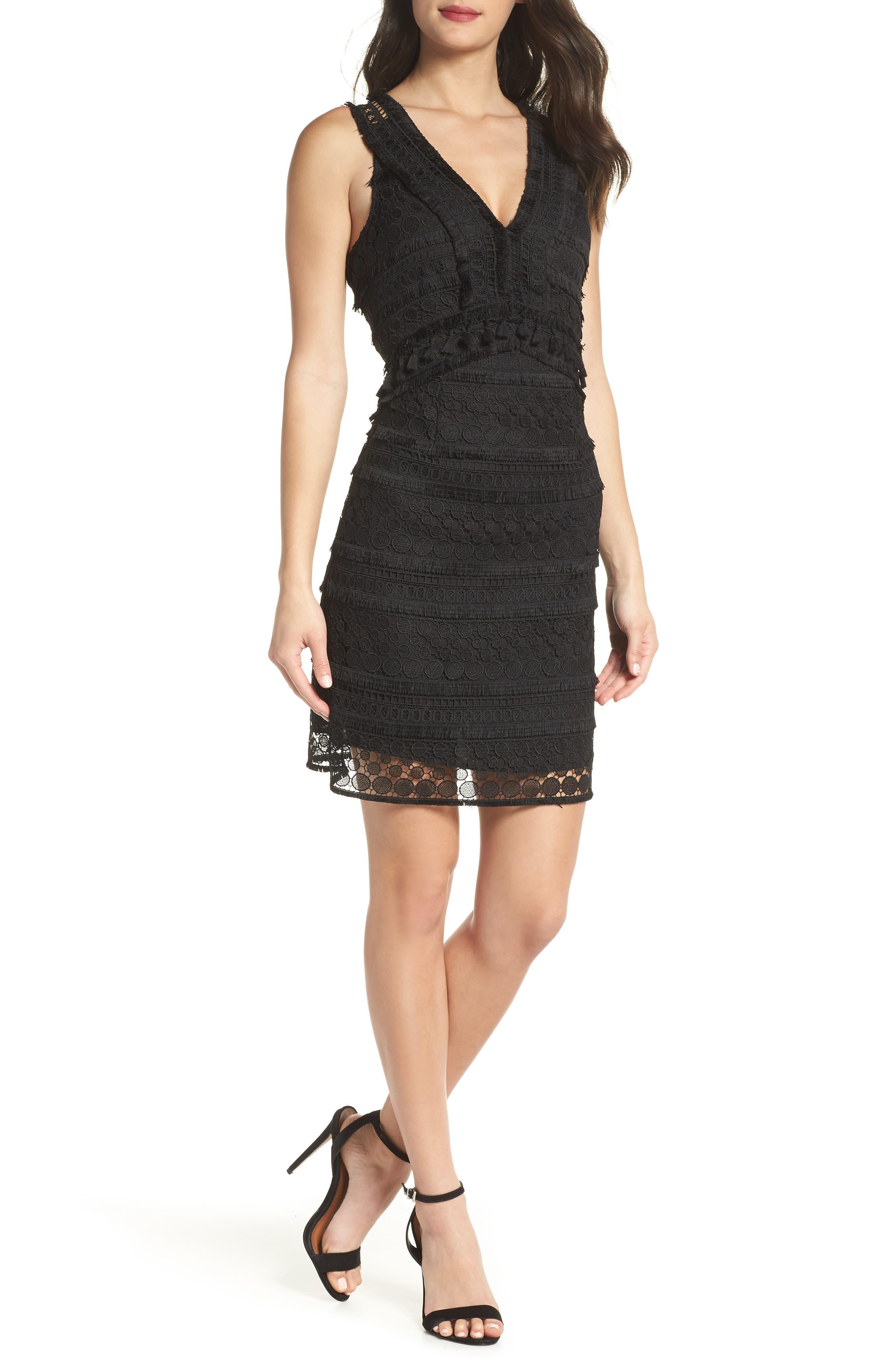 Lace Sheath Dress,                             Main thumbnail 1, color,                             BLACK