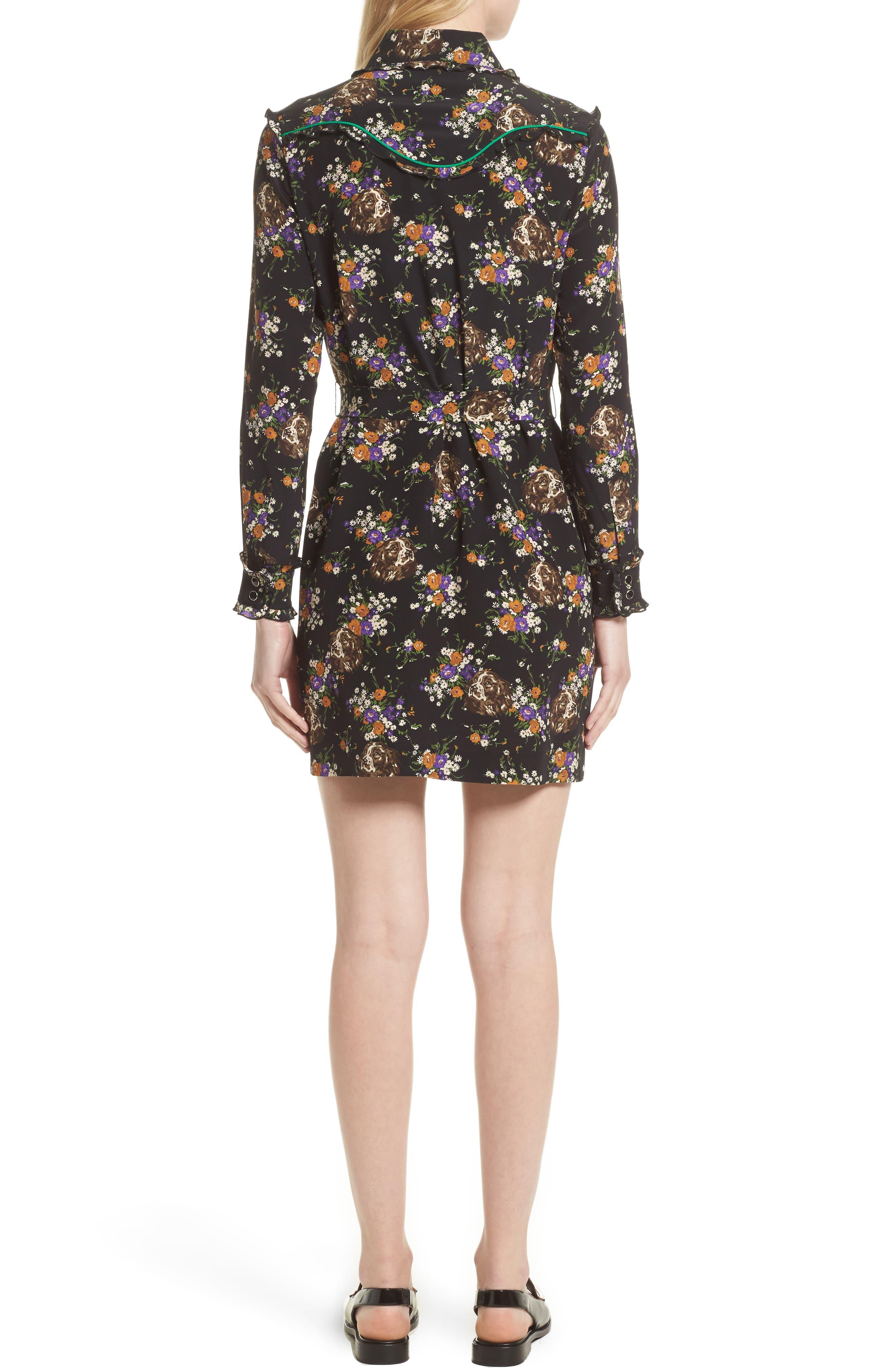 Western Lace & Silk Shirtdress,                             Alternate thumbnail 2, color,                             013
