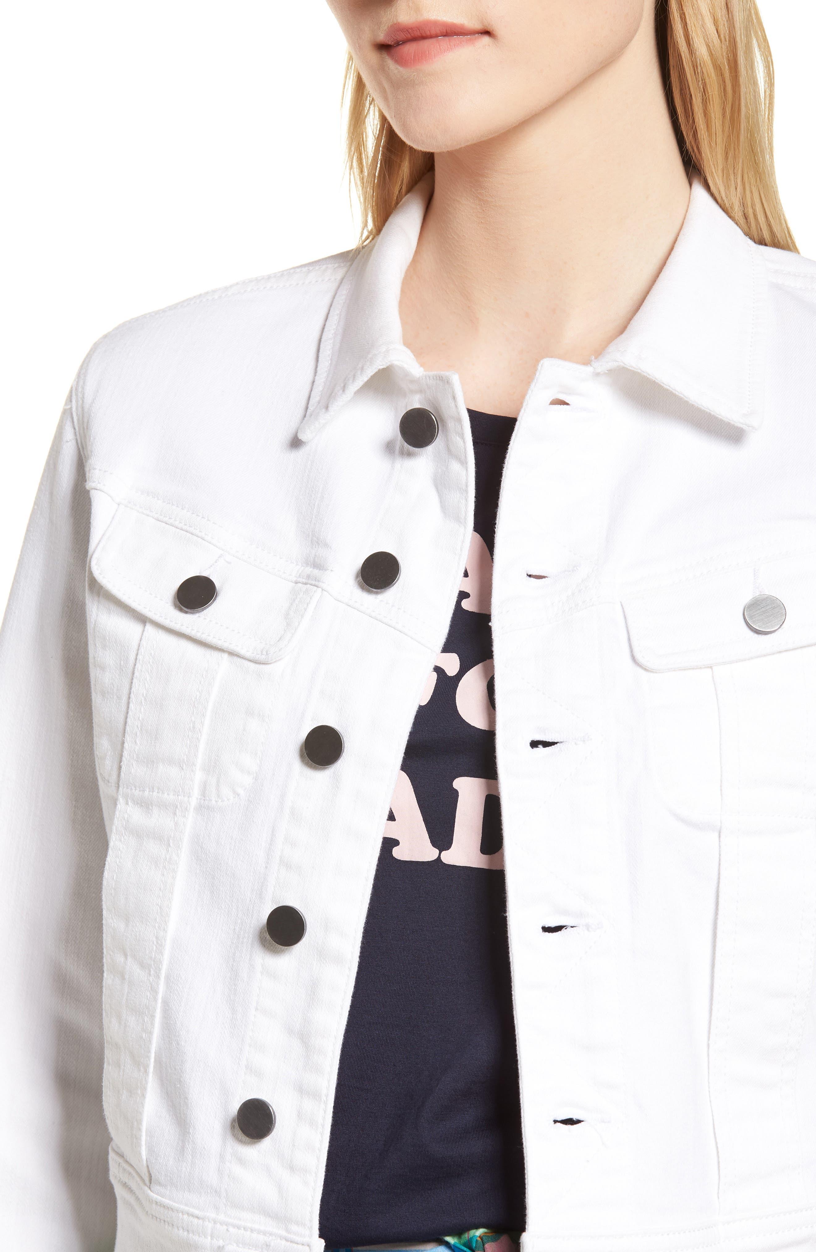 White Denim Jacket,                             Alternate thumbnail 4, color,                             100