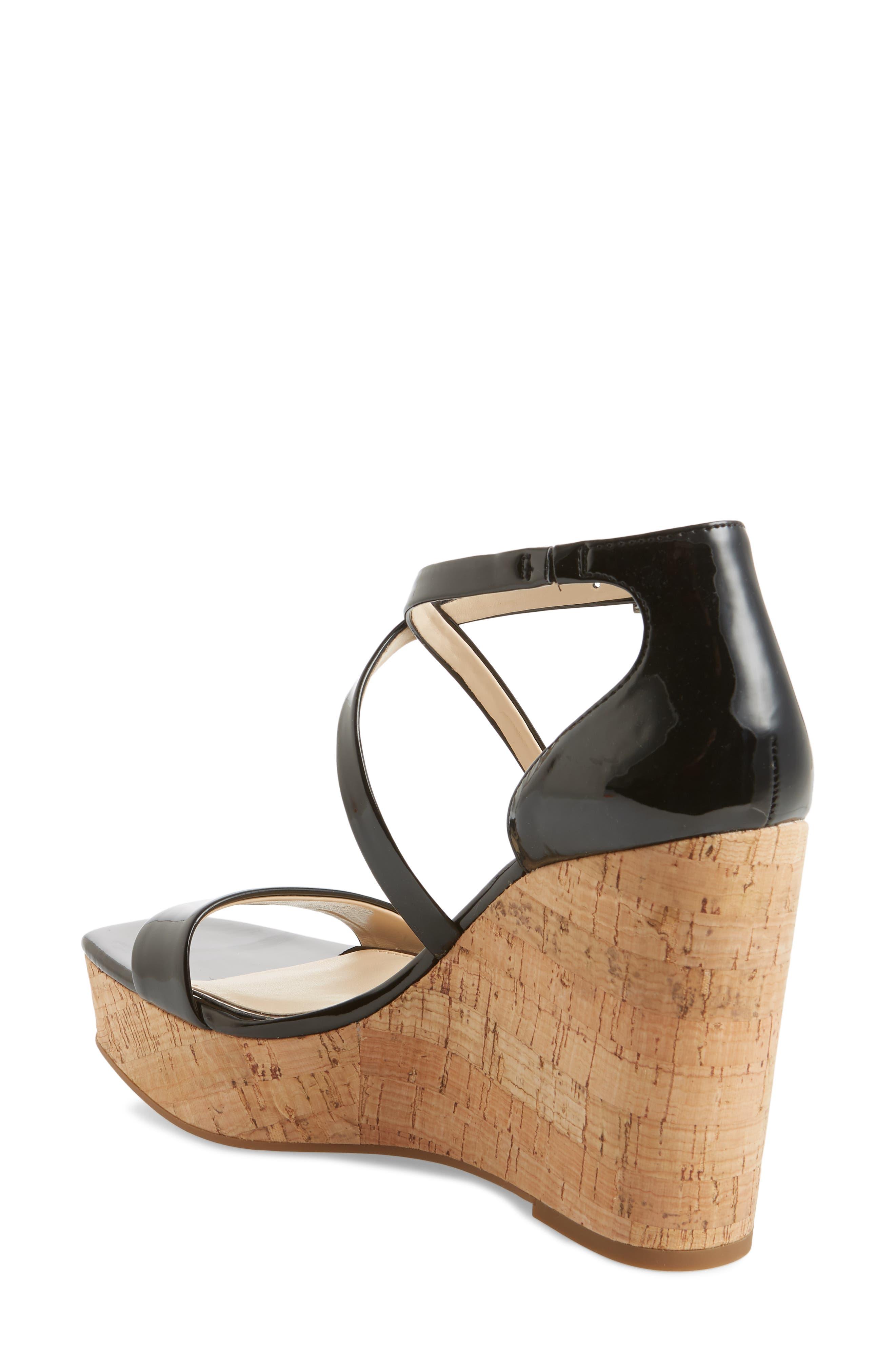 Stassi Cross Strap Wedge Sandal,                             Alternate thumbnail 2, color,                             001