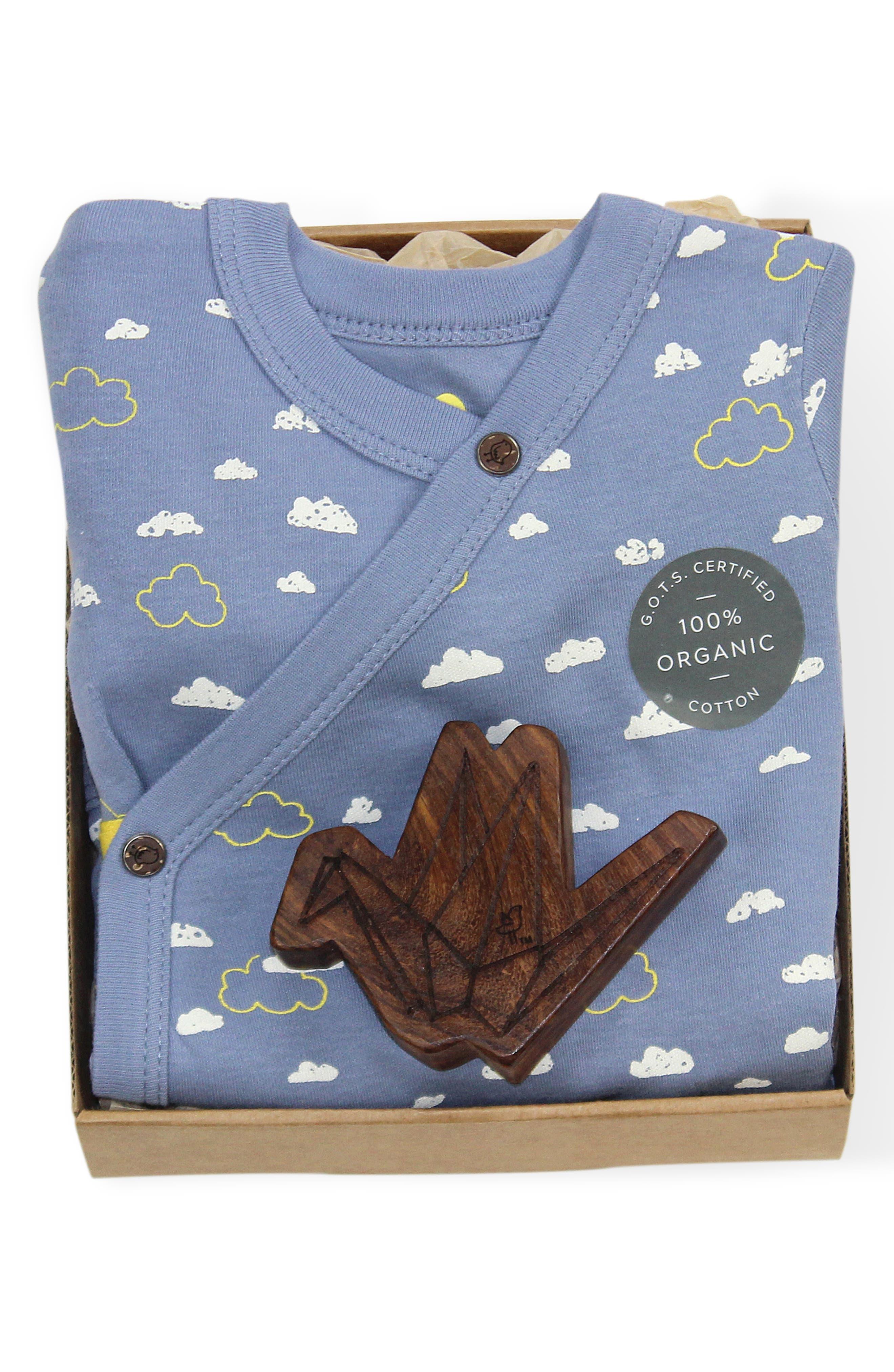 Clouds Organic Cotton Wrap Bodysuit & Origami Wood Teether Rattle Set,                             Alternate thumbnail 2, color,                             BLUE