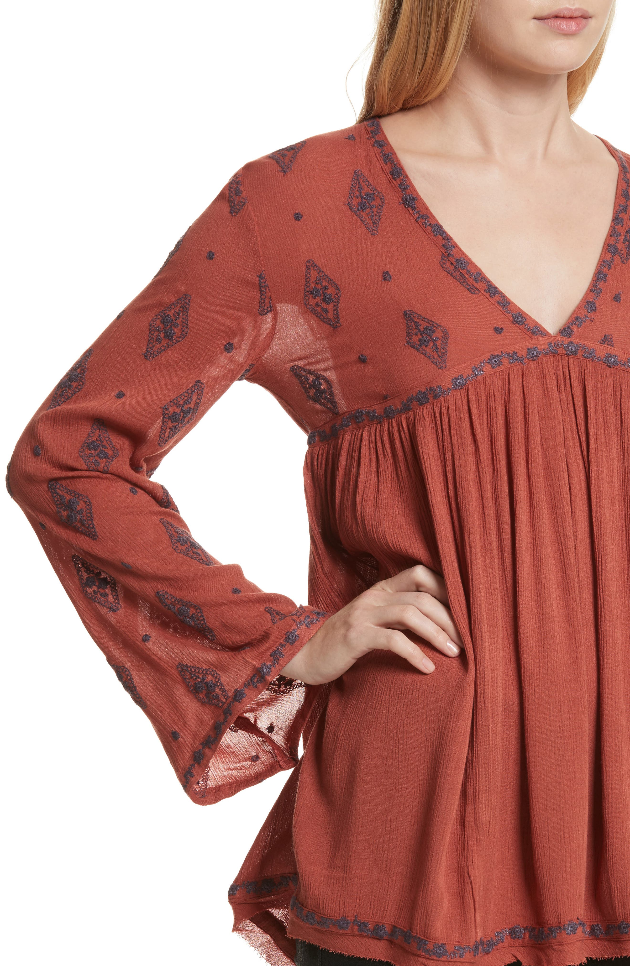 Embroidered Bell Sleeve Top,                             Alternate thumbnail 17, color,