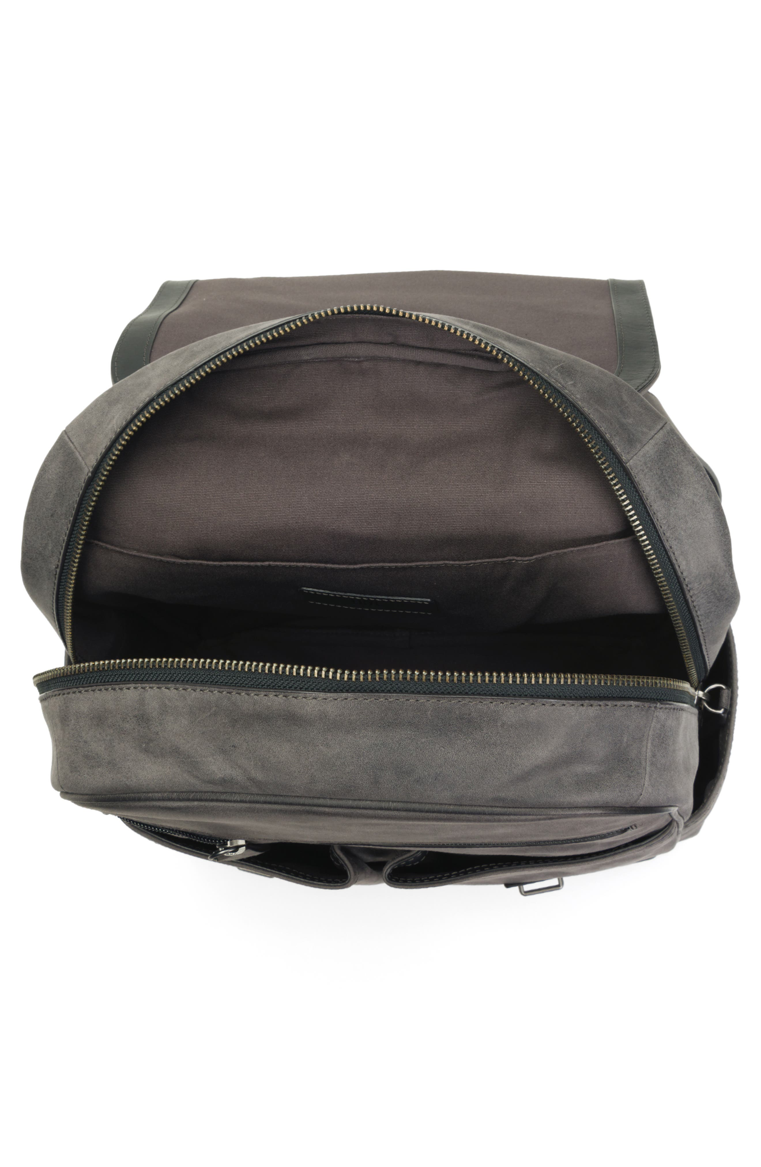 Oliver Leather Backpack,                             Alternate thumbnail 4, color,                             SLATE