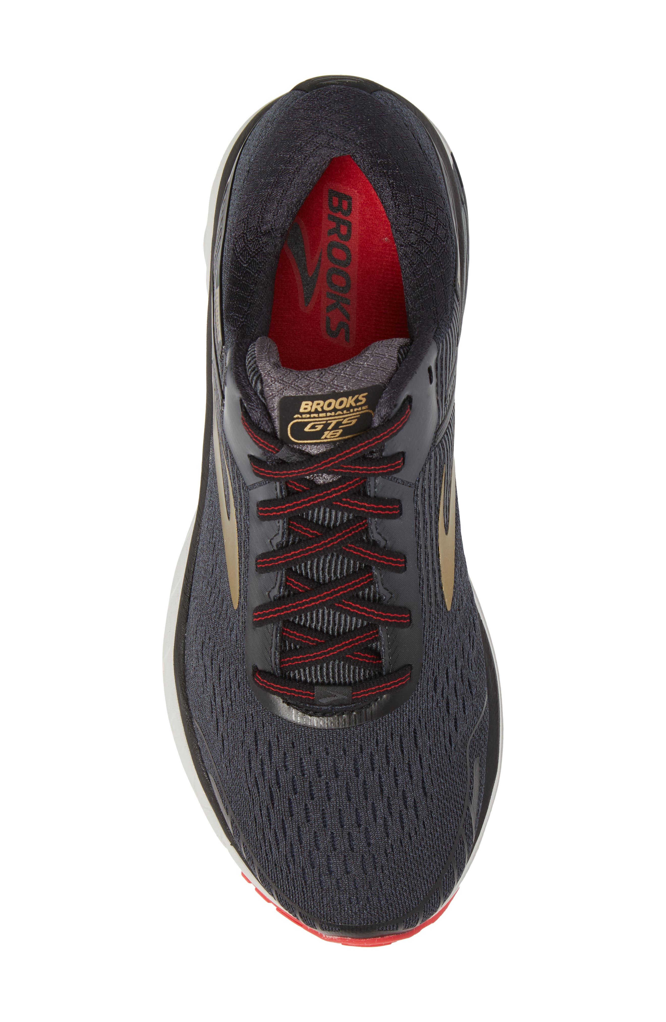Adrenaline GTS 18 Running Shoe,                             Alternate thumbnail 5, color,                             BLACK/ GOLD/ RED