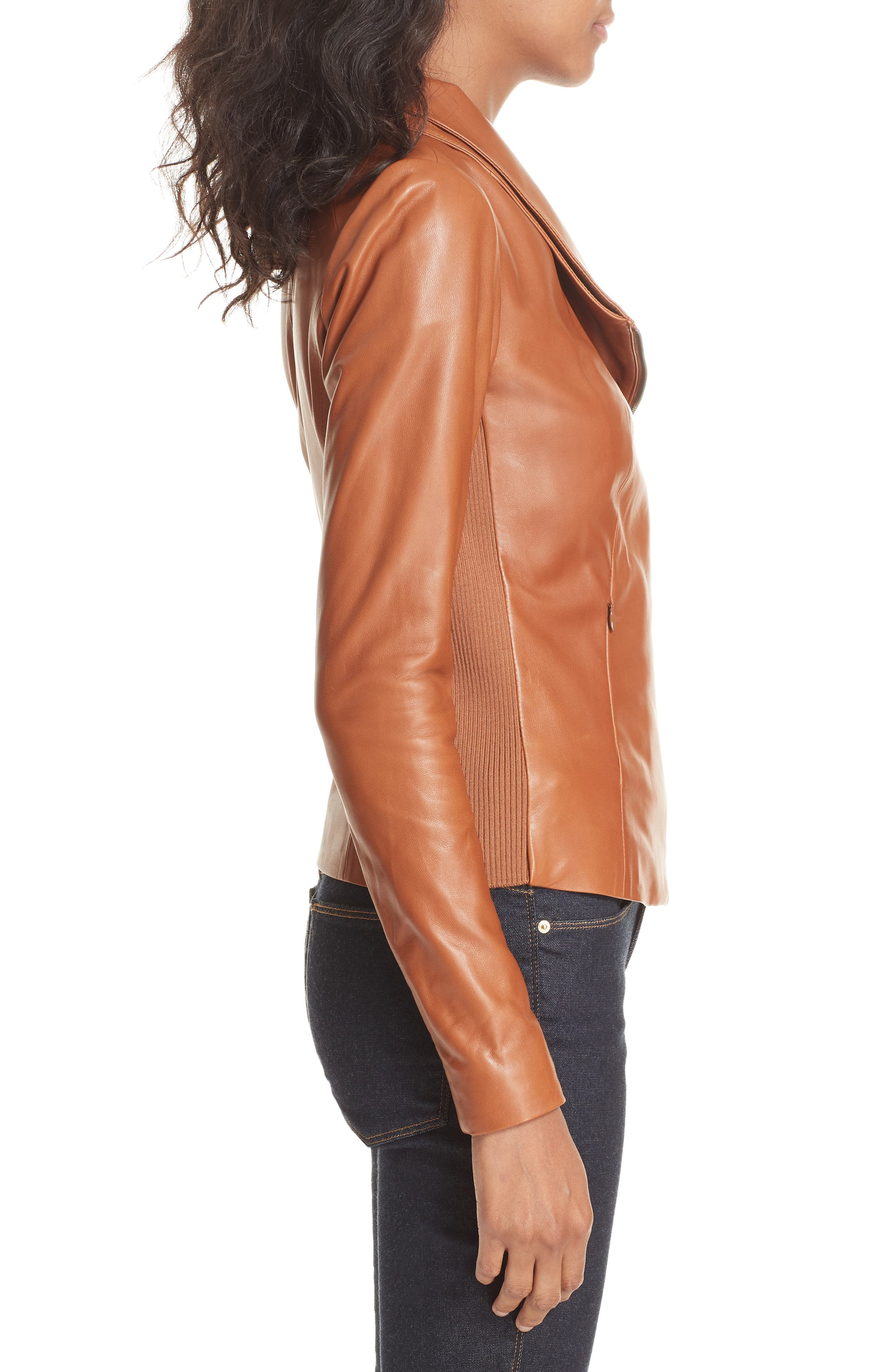 Stand Collar Leather Jacket,                             Alternate thumbnail 3, color,                             RUST BISQUE