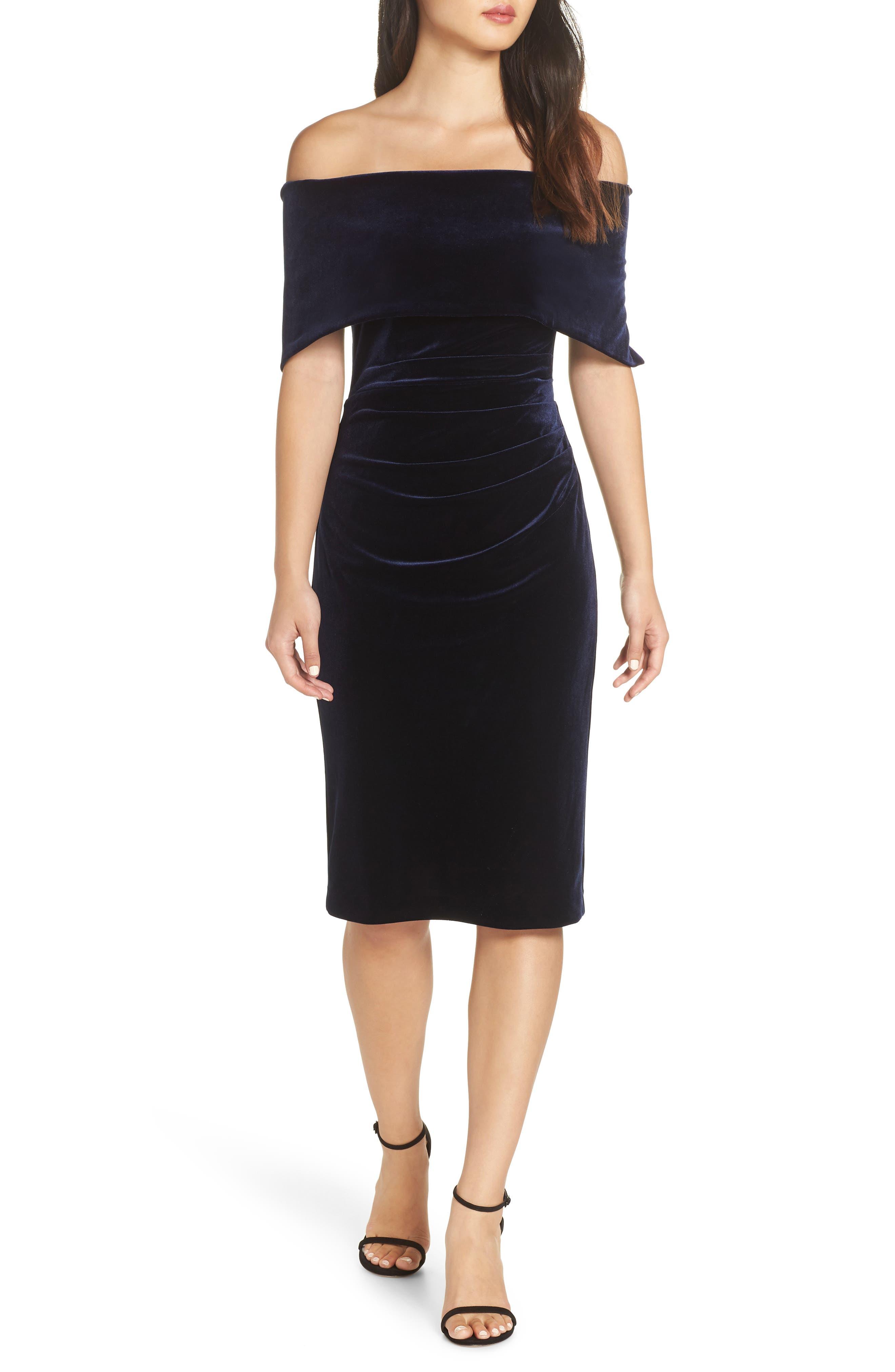 Velvet Off the Shoulder Dress,                         Main,                         color, NAVY