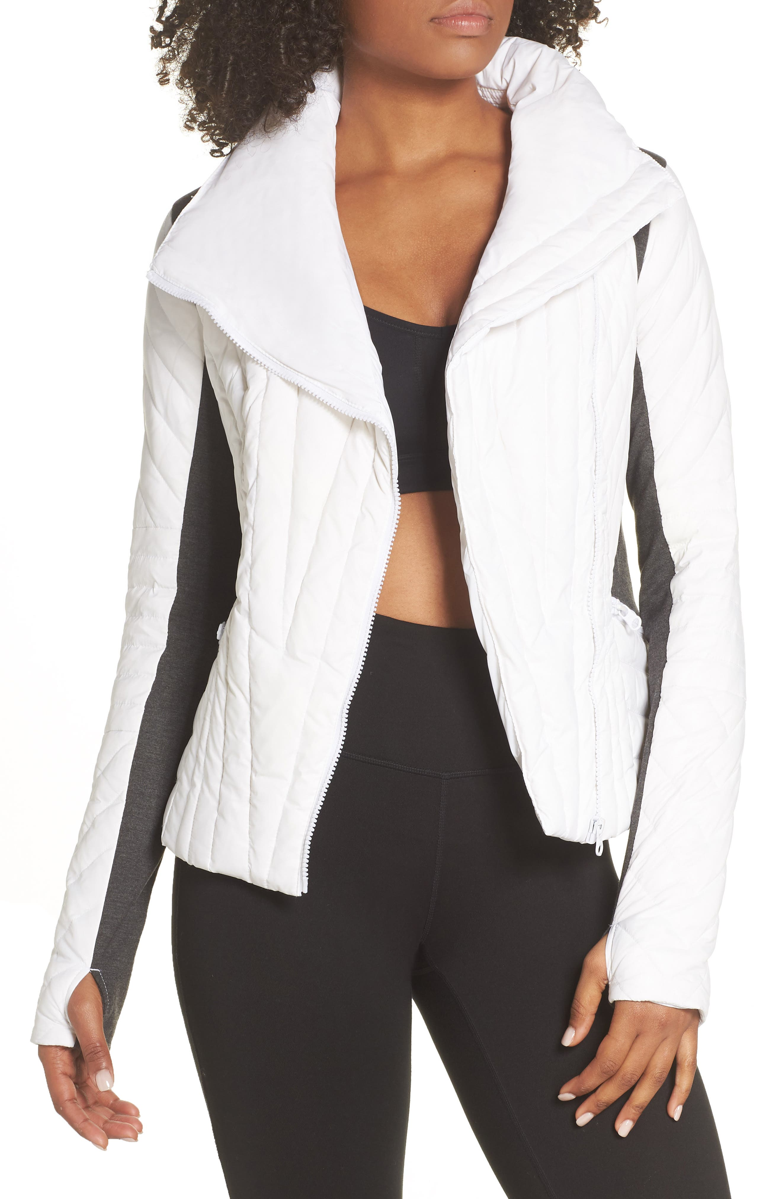 BLANC NOIR Motion Panel Down Puffer Jacket, Main, color, WHITE/ HEATHER GREY