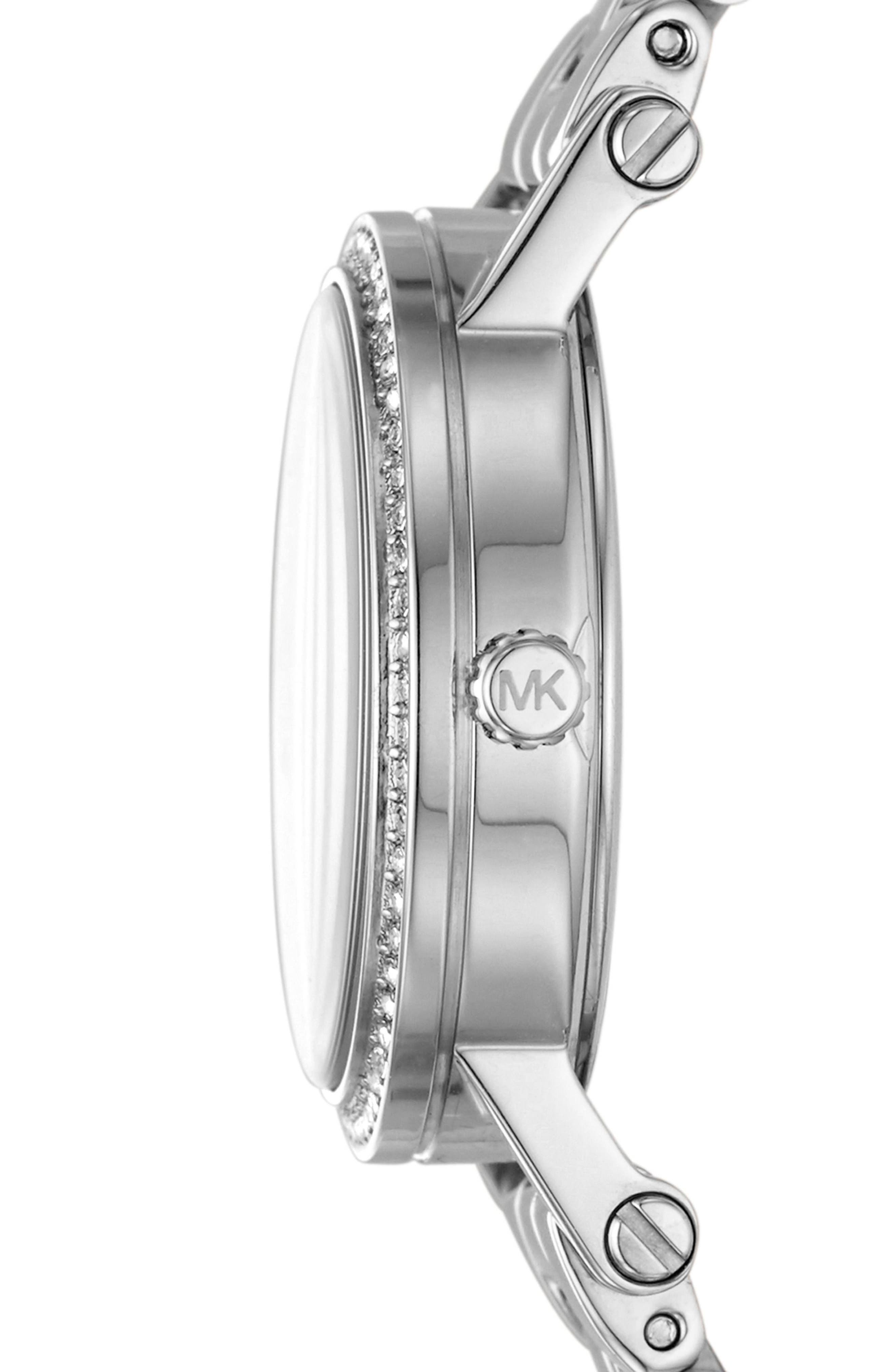 Petite Norie Pavé Bracelet Watch, 28mm,                             Alternate thumbnail 4, color,