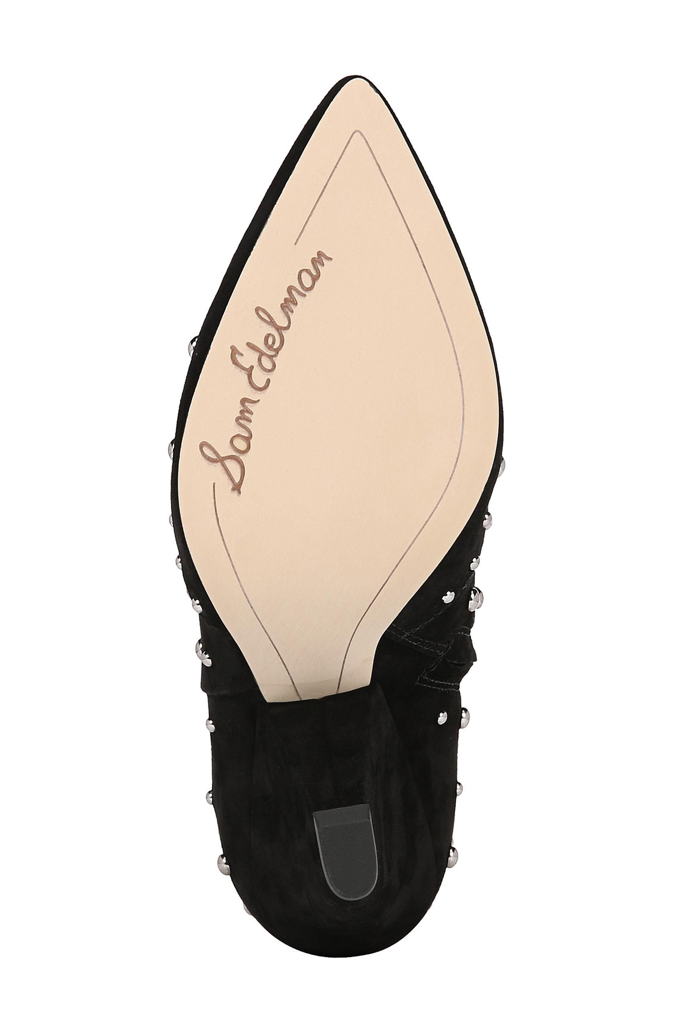 Roya Studded Boot,                             Alternate thumbnail 6, color,                             BLACK SUEDE
