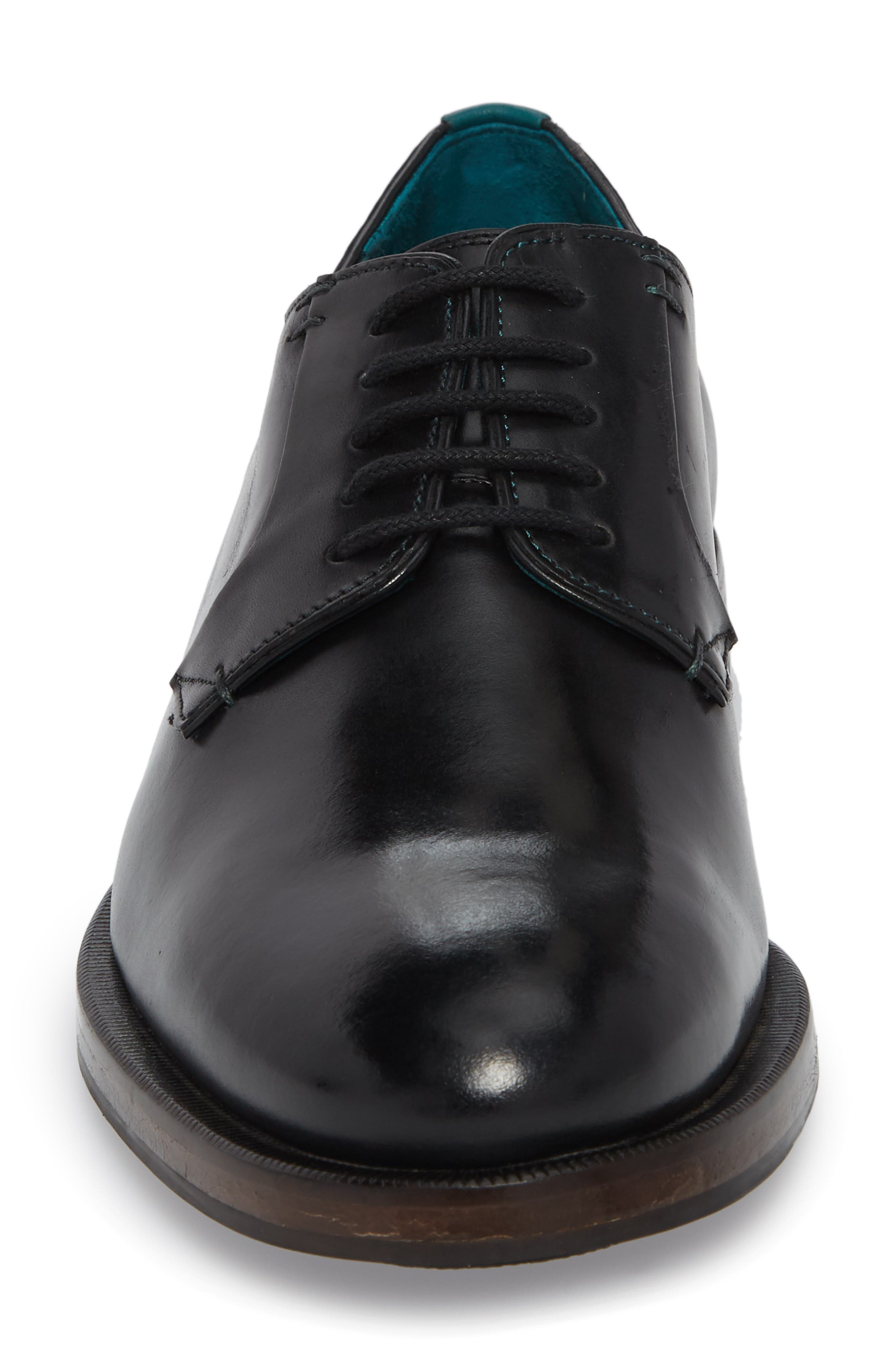 Silice Plain Toe Derby,                             Alternate thumbnail 4, color,                             BLACK LEATHER