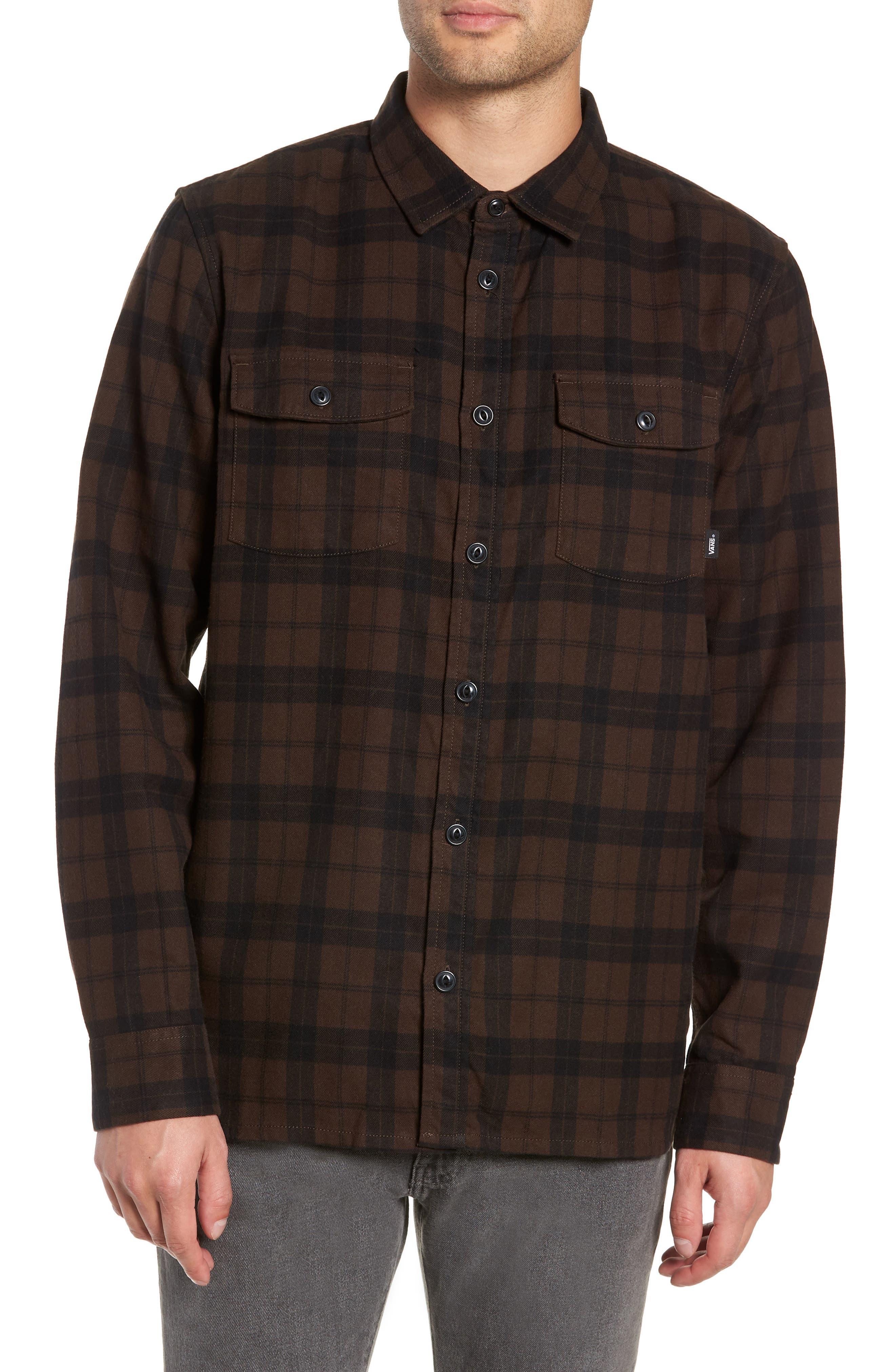 Blackstone Flannel Shirt,                         Main,                         color, DEMITASSE/ BLACK