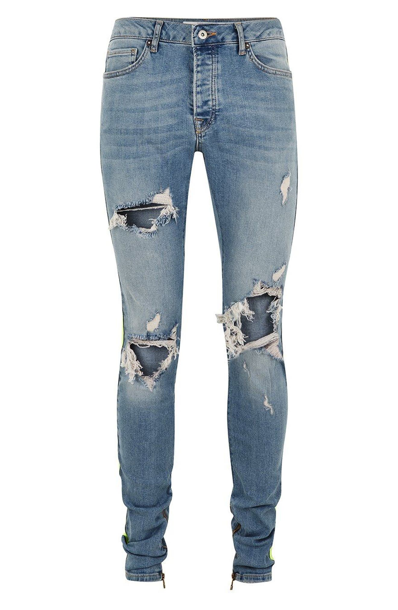 Side Tape Stretch Skinny Fit Jeans,                             Alternate thumbnail 5, color,                             BLUE MULTI