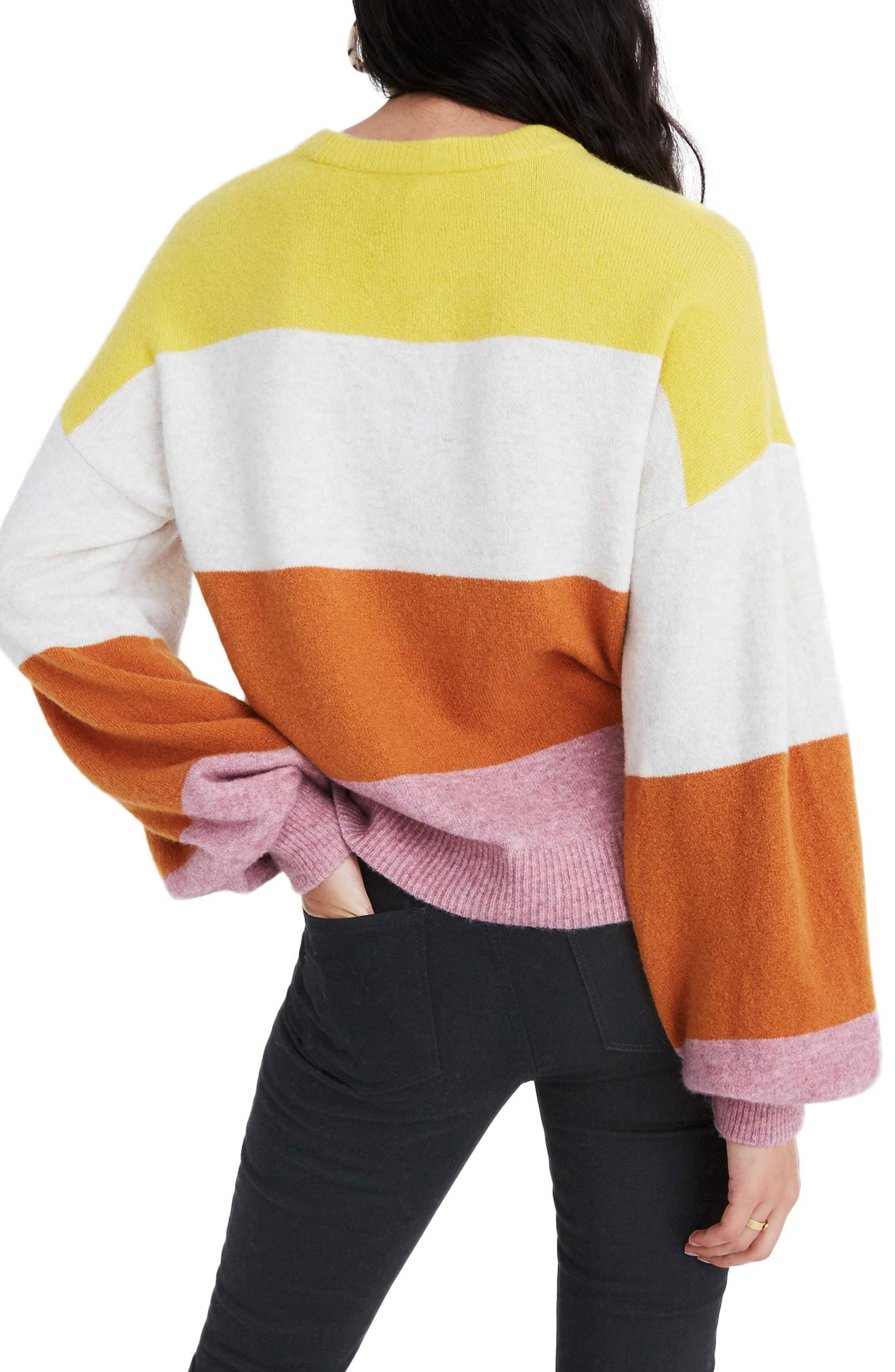 MADEWELL,                             Striped Balloon-Sleeve Pullover Sweater,                             Alternate thumbnail 2, color,                             HEATHER MULBERRY