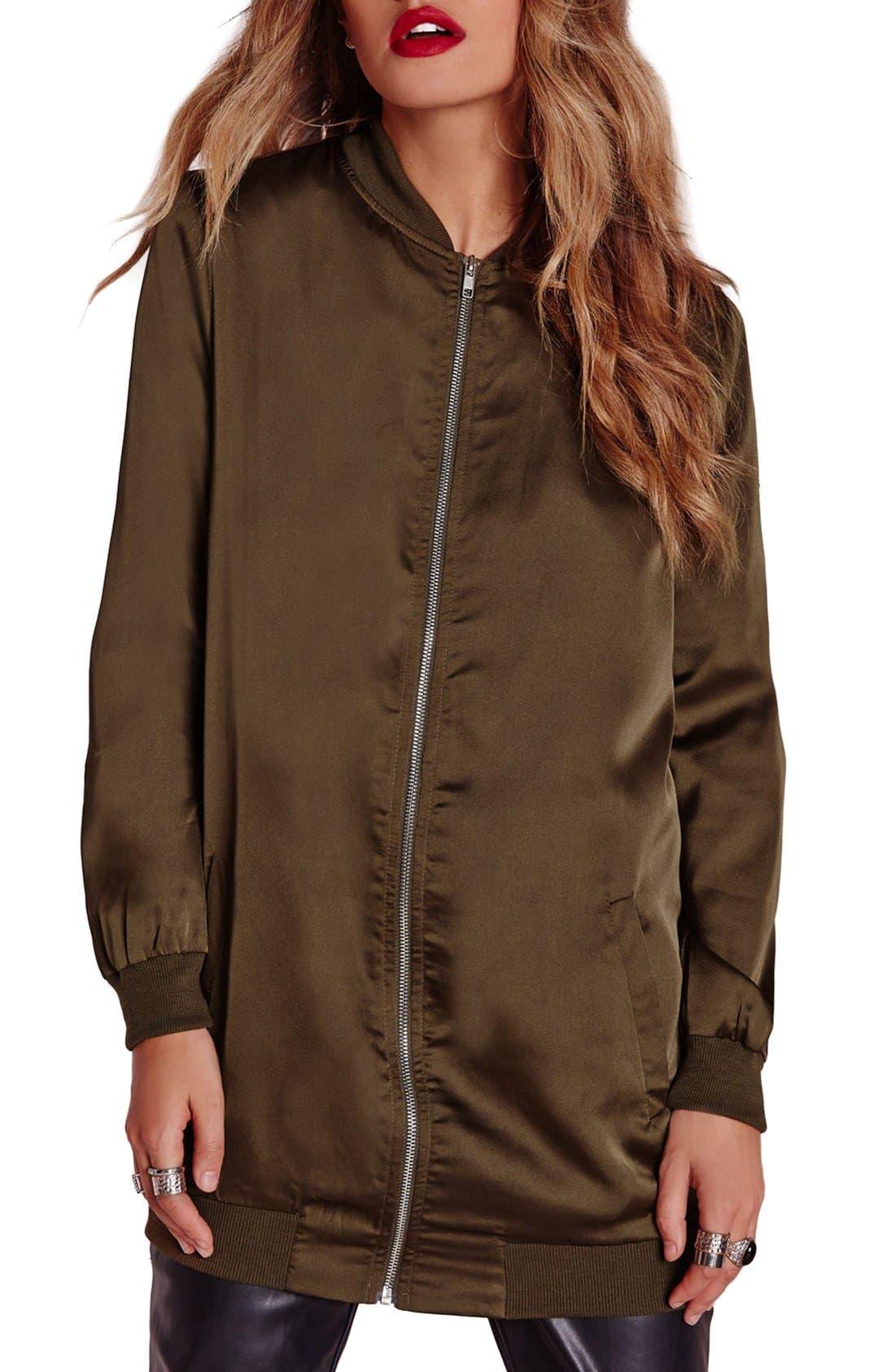 Satin Longline Bomber Jacket,                         Main,                         color, 250