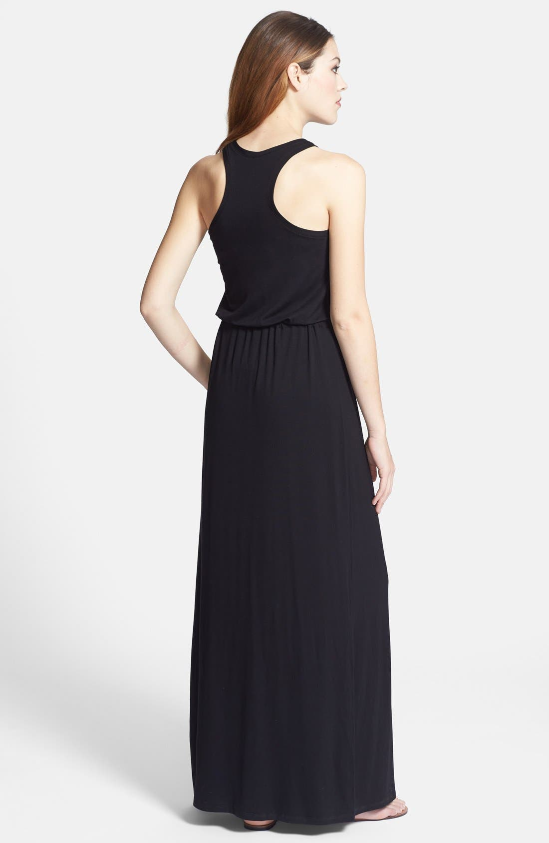 Drawstring Jersey Maxi Dress,                             Alternate thumbnail 2, color,                             001