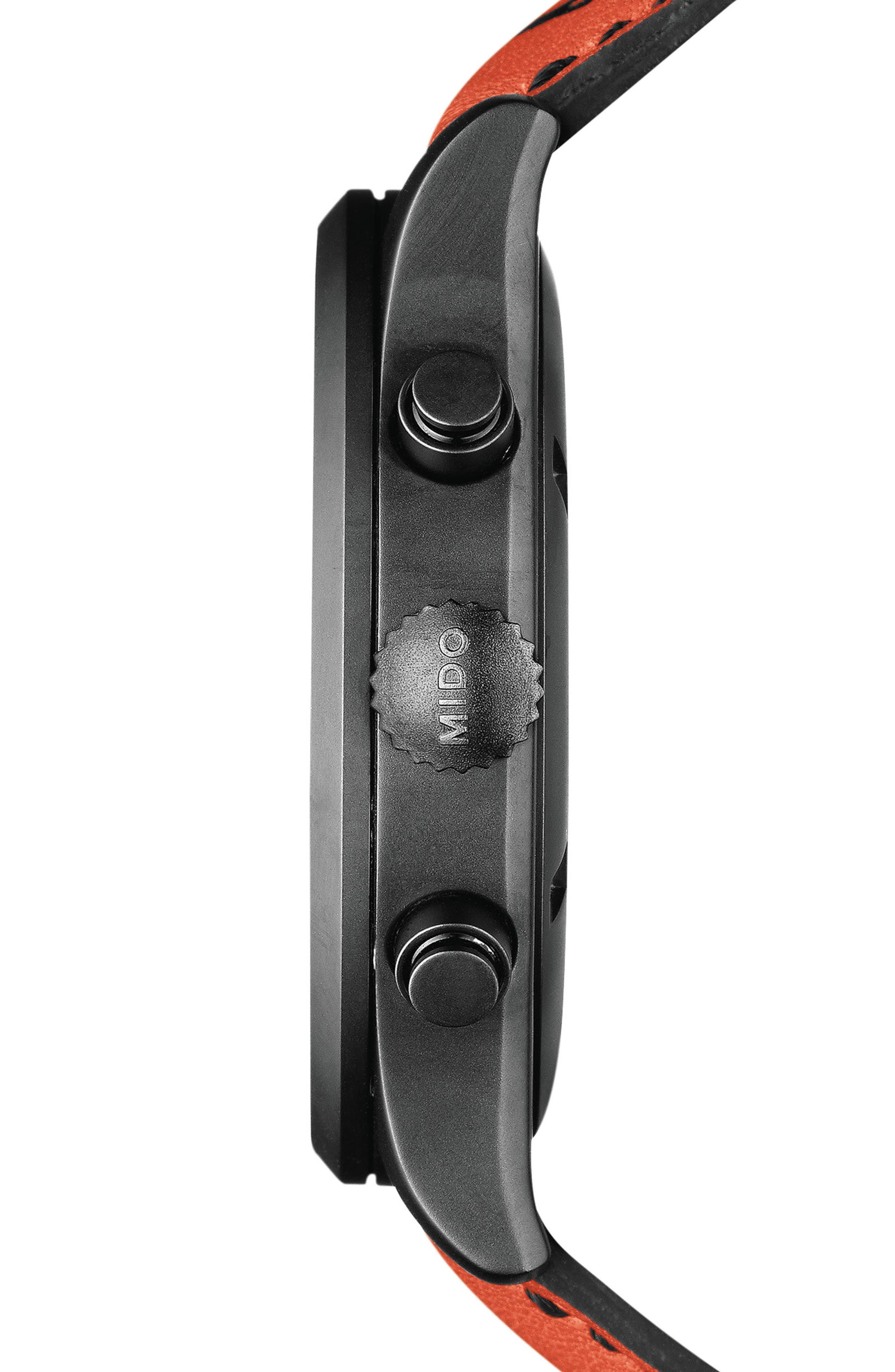 Multifort Chronograph Leather Strap Watch, 42mm,                             Alternate thumbnail 3, color,                             BLACK/ ORANGE/ SILVER