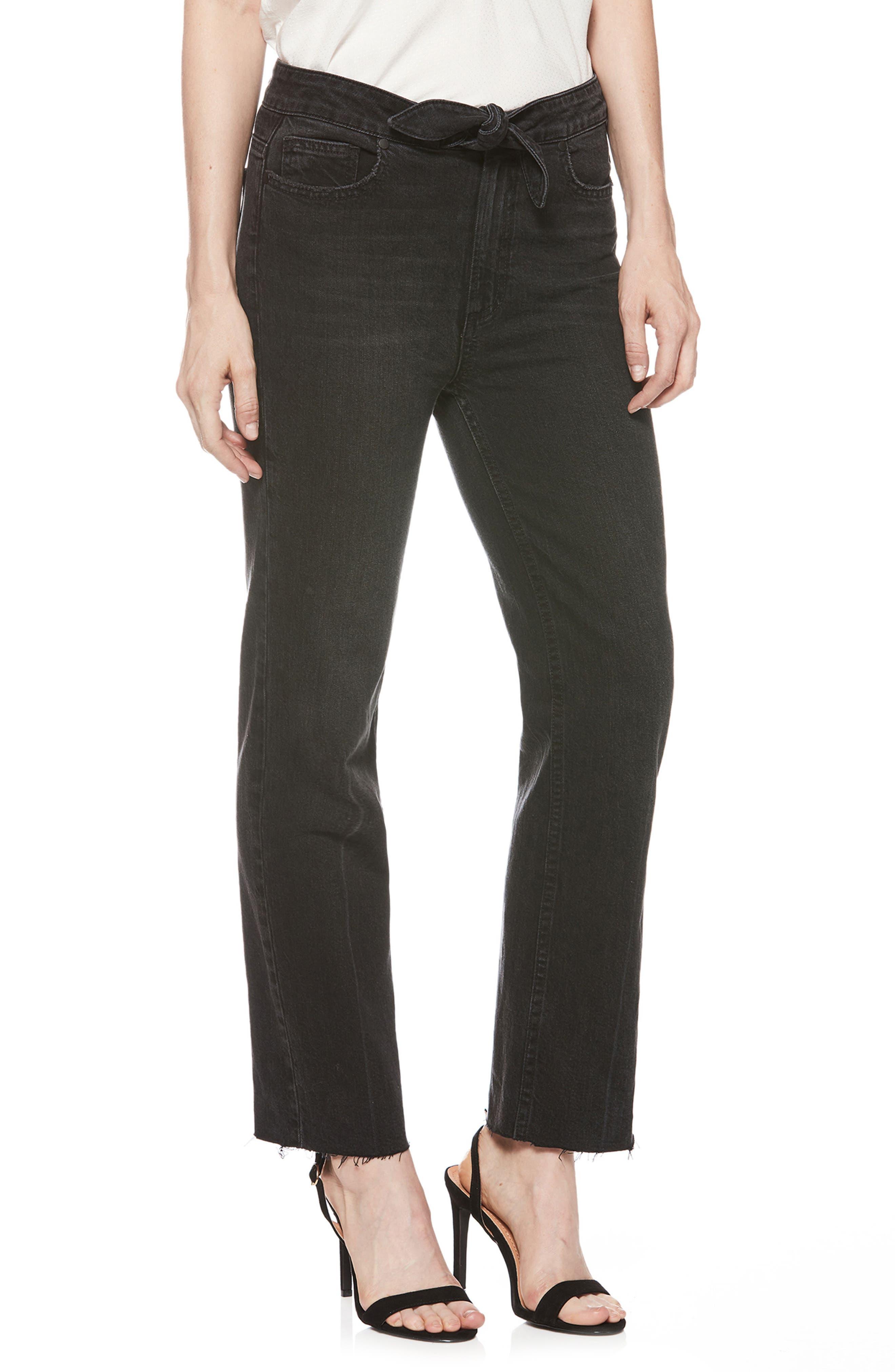 Margot Knot High Waist Straight Leg Jeans,                         Main,                         color, FILM NOIR