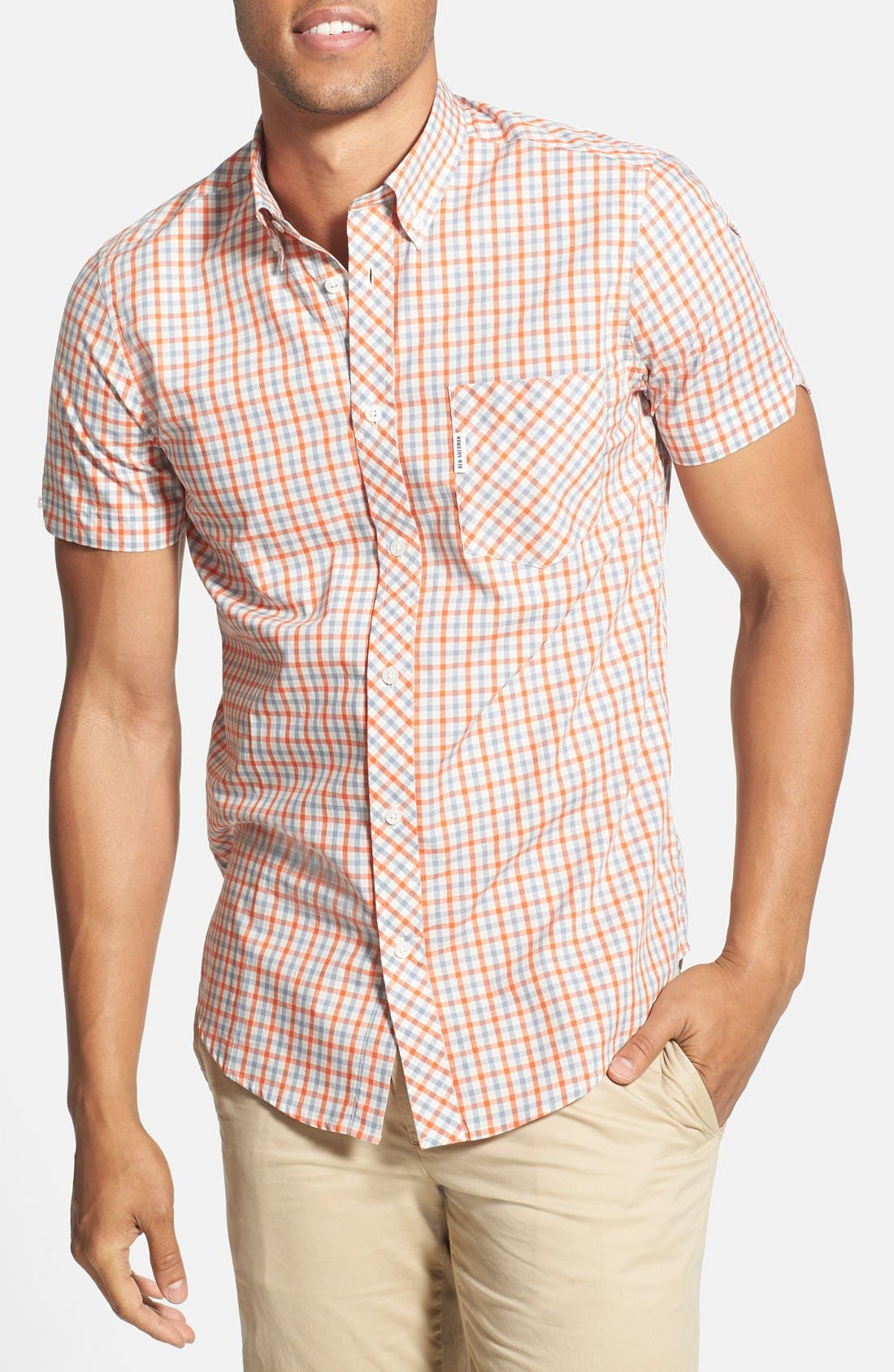 Check Woven Shirt,                         Main,                         color, 110
