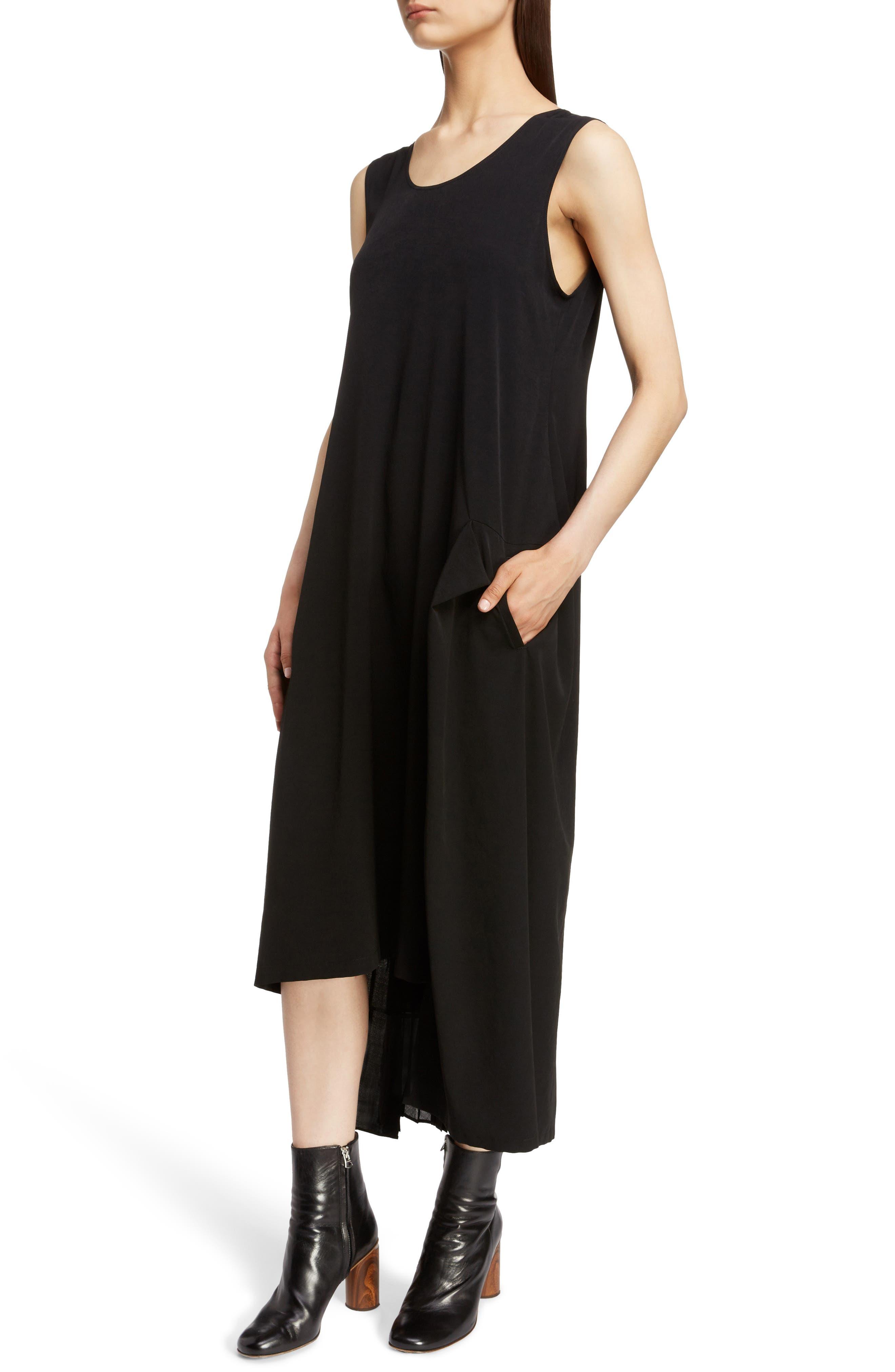 Pleat Detail Sleeveless Dress,                             Alternate thumbnail 4, color,                             BLACK