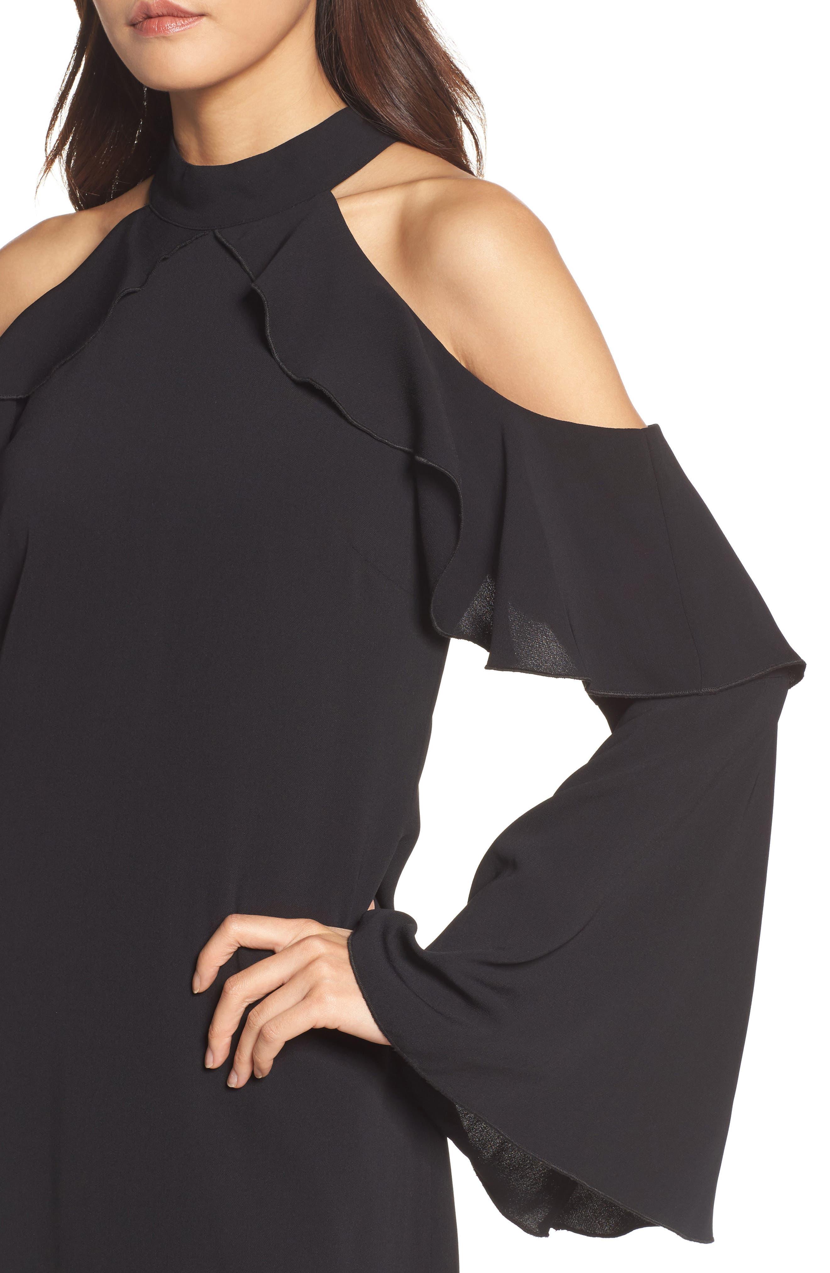 Sydney Cold Shoulder Dress,                             Alternate thumbnail 4, color,                             001