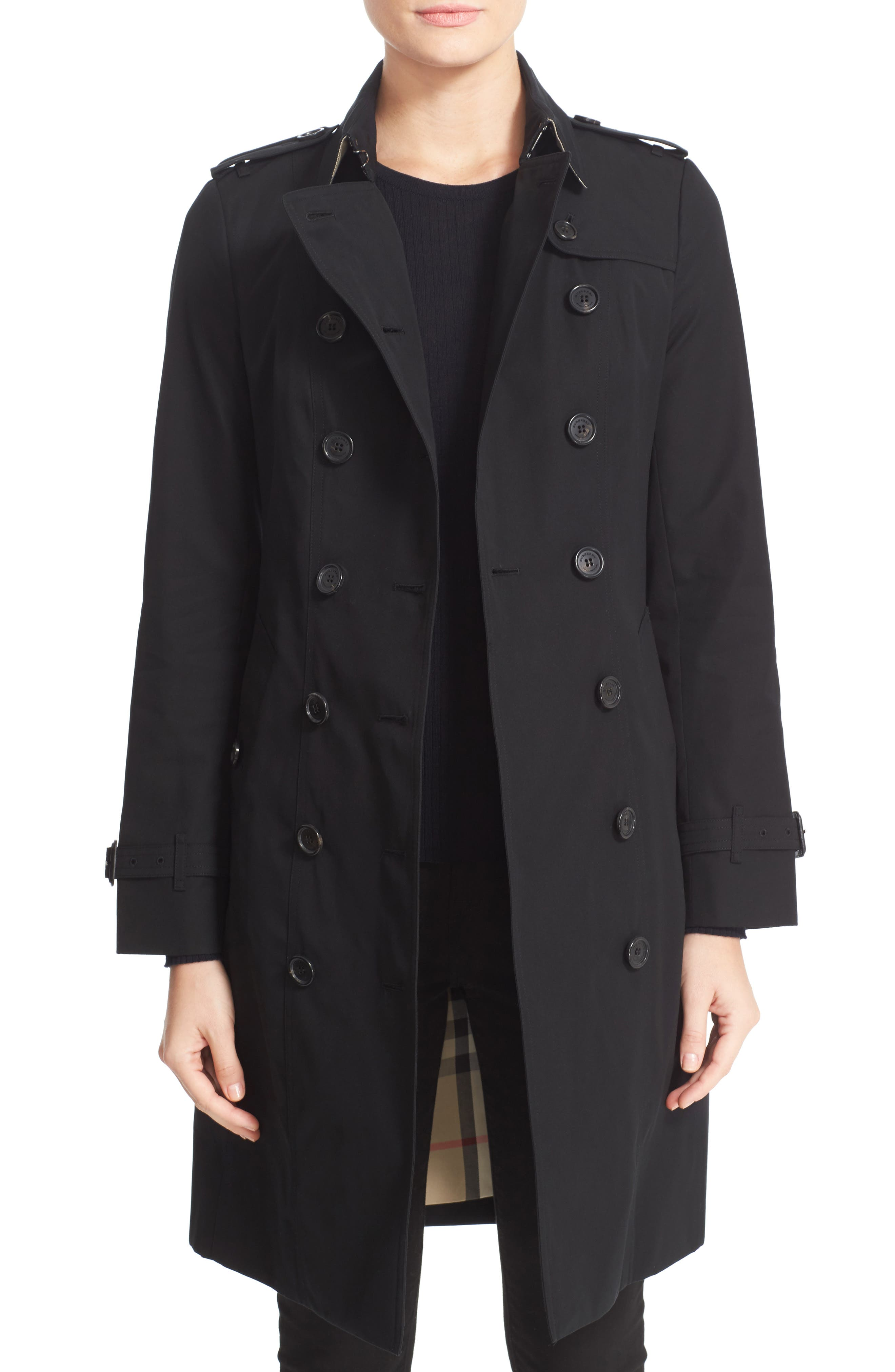 Sandringham Long Slim Trench Coat,                             Main thumbnail 1, color,                             BLACK