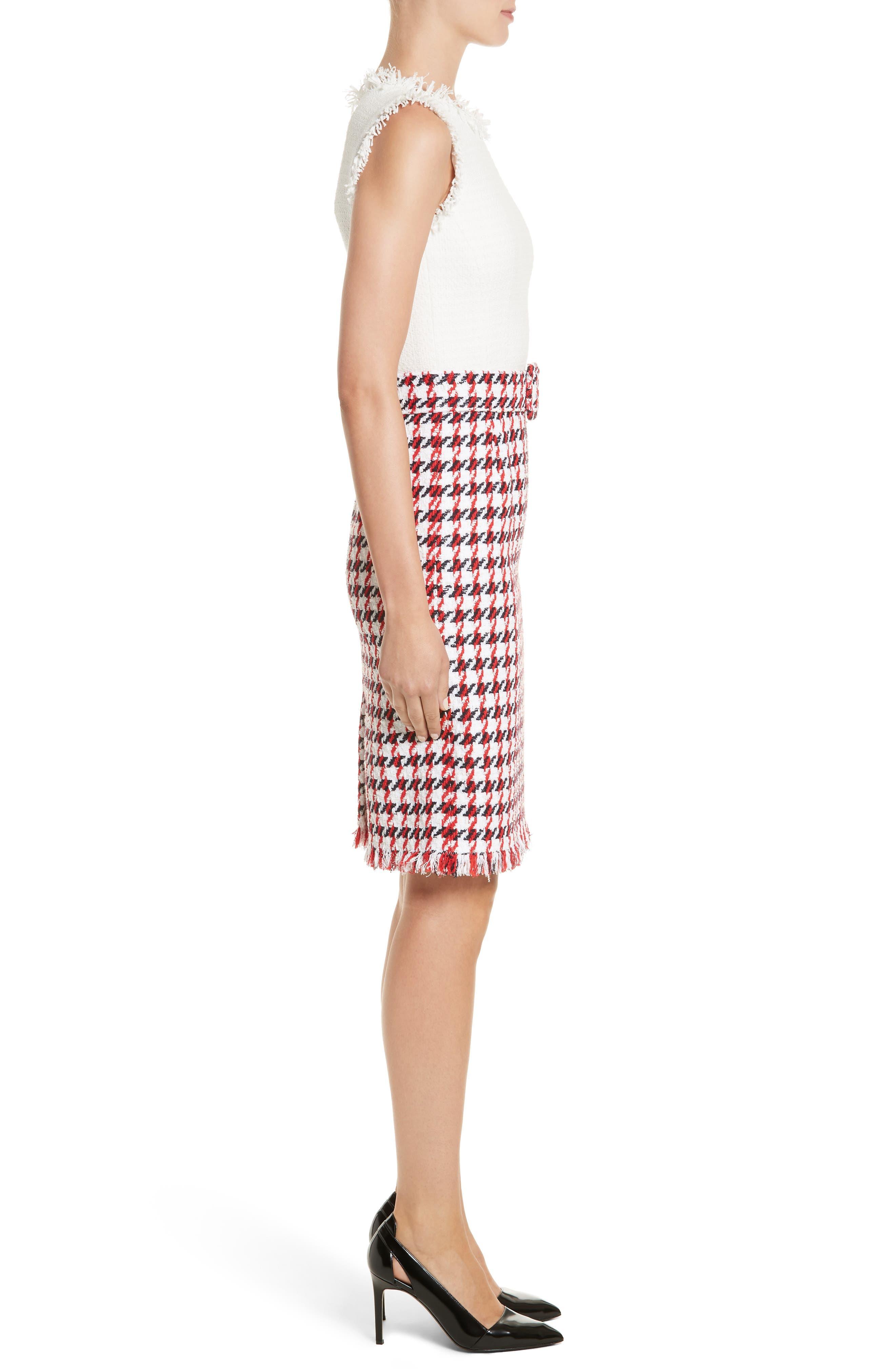Bicolor Houndstooth Tweed Dress,                             Alternate thumbnail 3, color,                             900