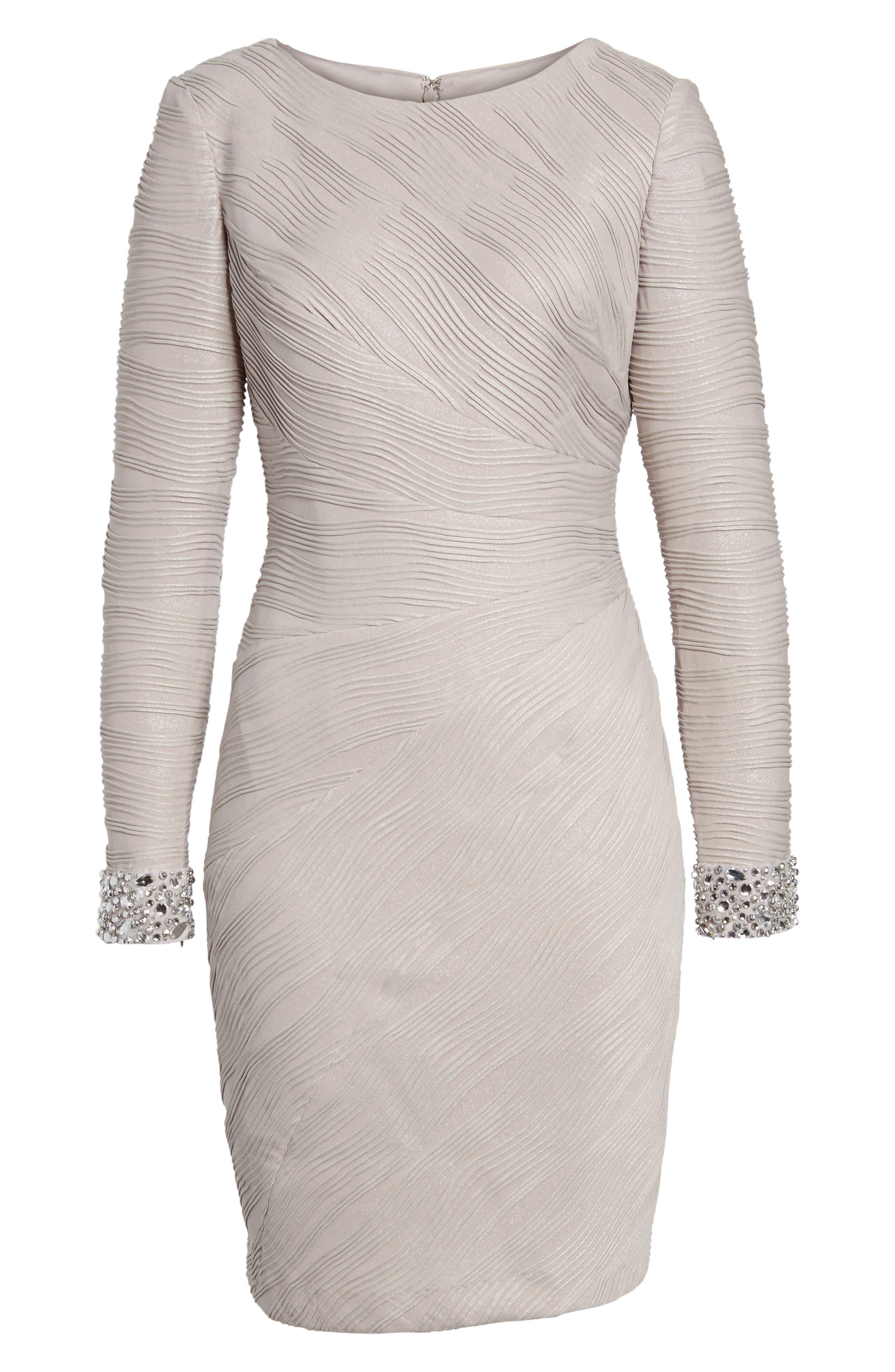 Embellished Sleeve Knit Sheath Dress,                             Alternate thumbnail 2, color,