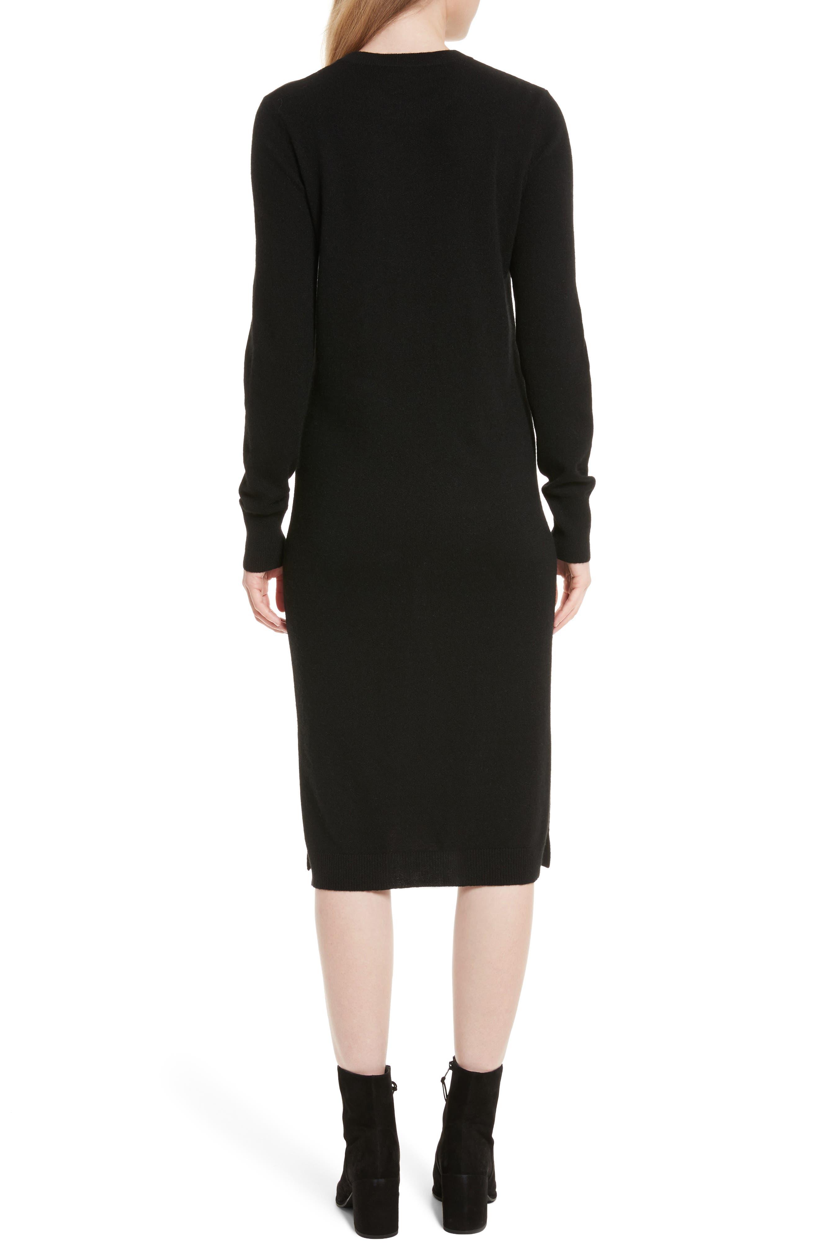 Snyder Cashmere Knit Midi Dress,                             Alternate thumbnail 2, color,                             001