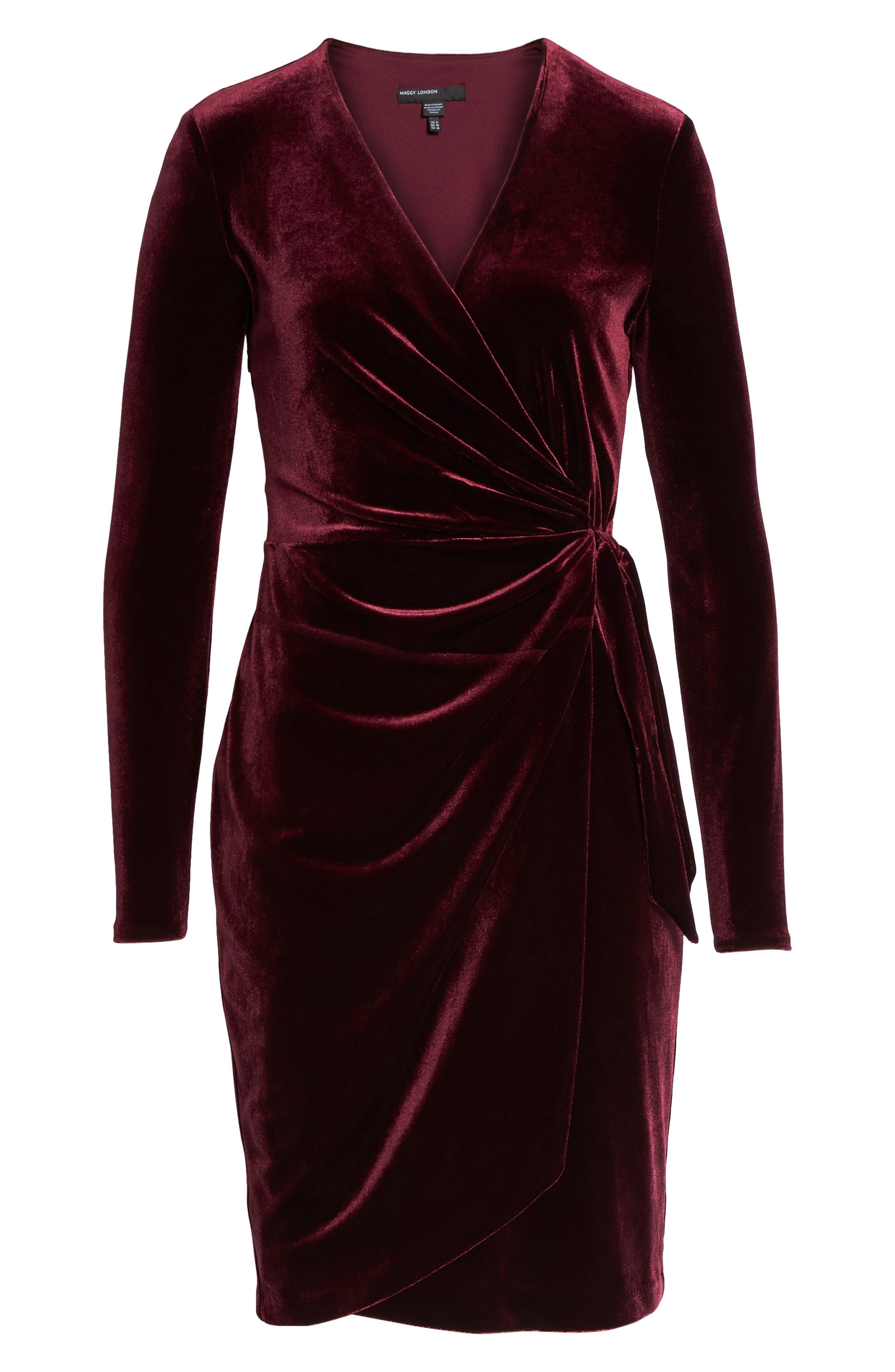 Velvet Faux Wrap Dress,                             Alternate thumbnail 6, color,                             931