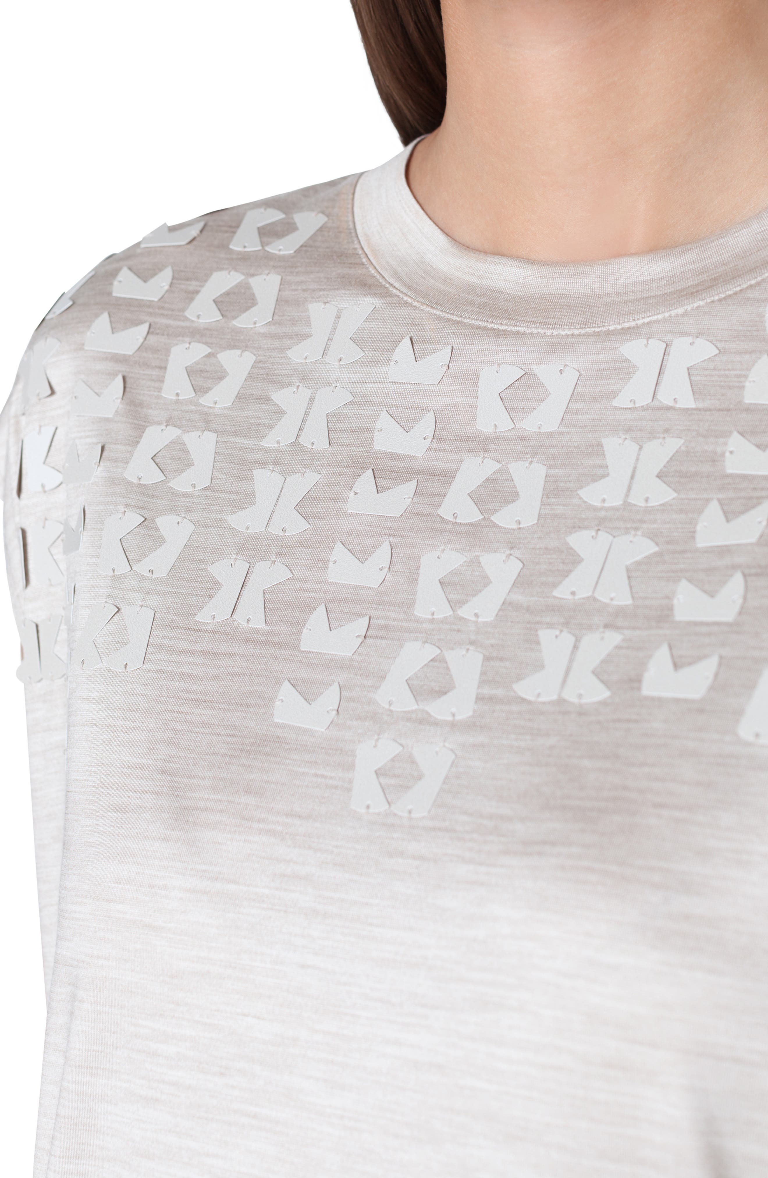 Embellished Silk Jersey Tee,                             Alternate thumbnail 3, color,                             CANVAS