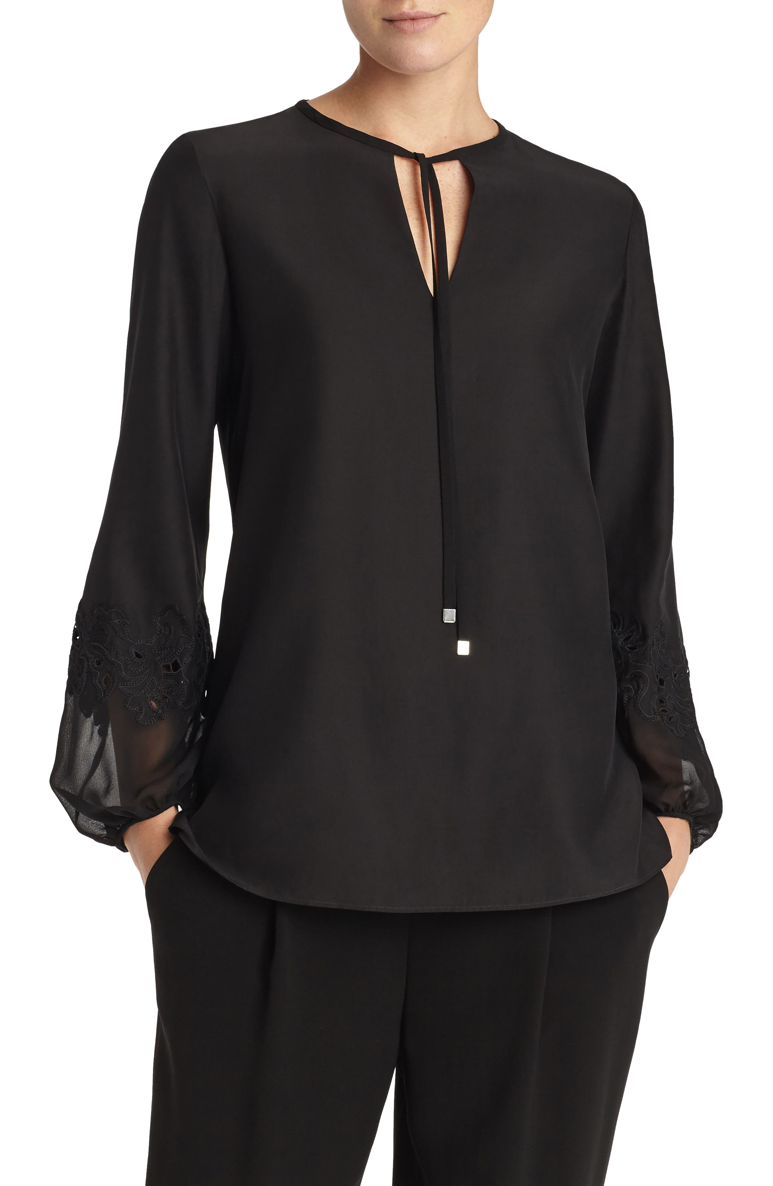 Eli Embroidered Cuff Silk Blouse,                             Main thumbnail 1, color,                             001