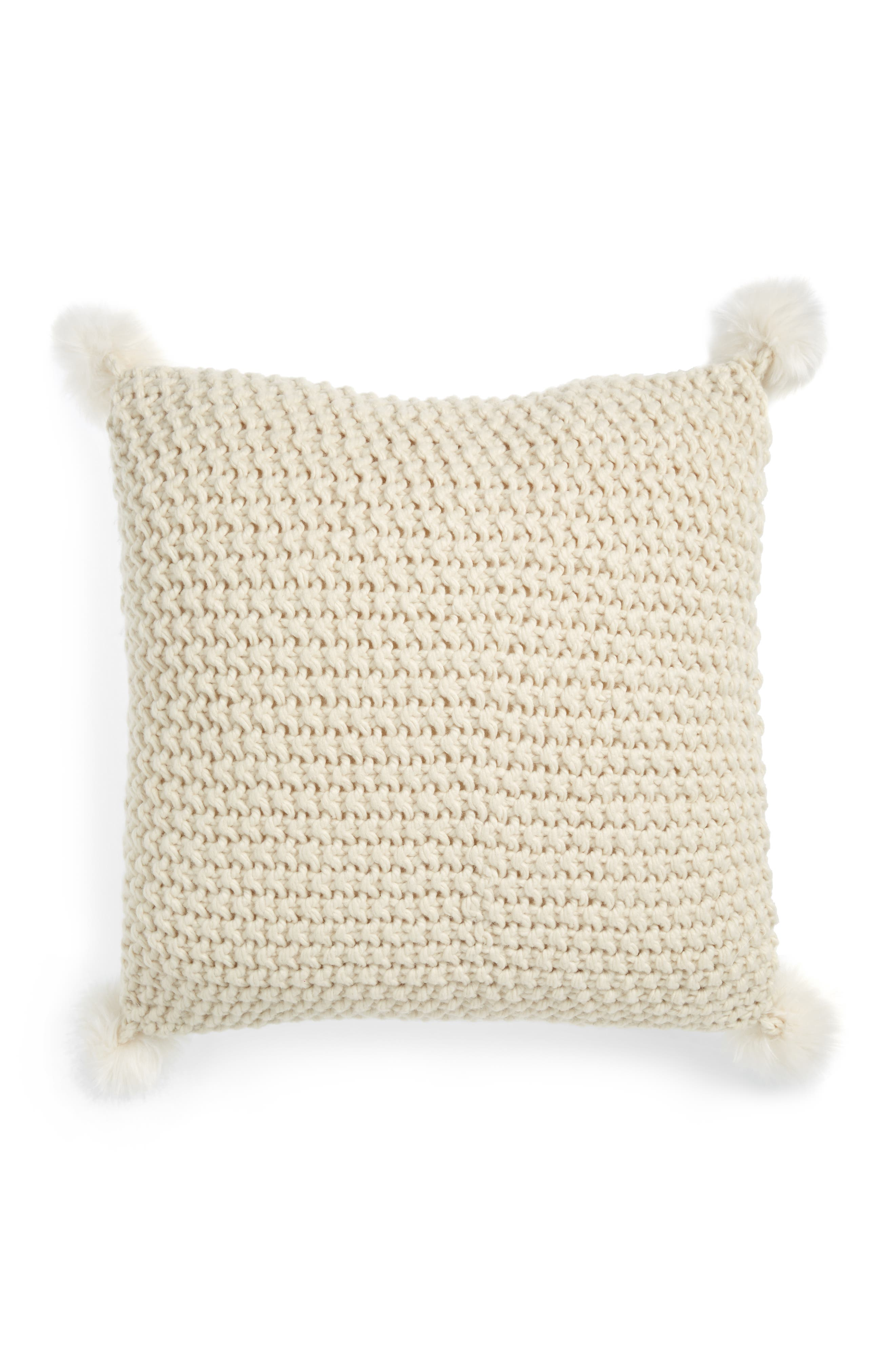 Knit Accent Pillow with Faux Fur Poms,                             Alternate thumbnail 2, color,                             IVORY