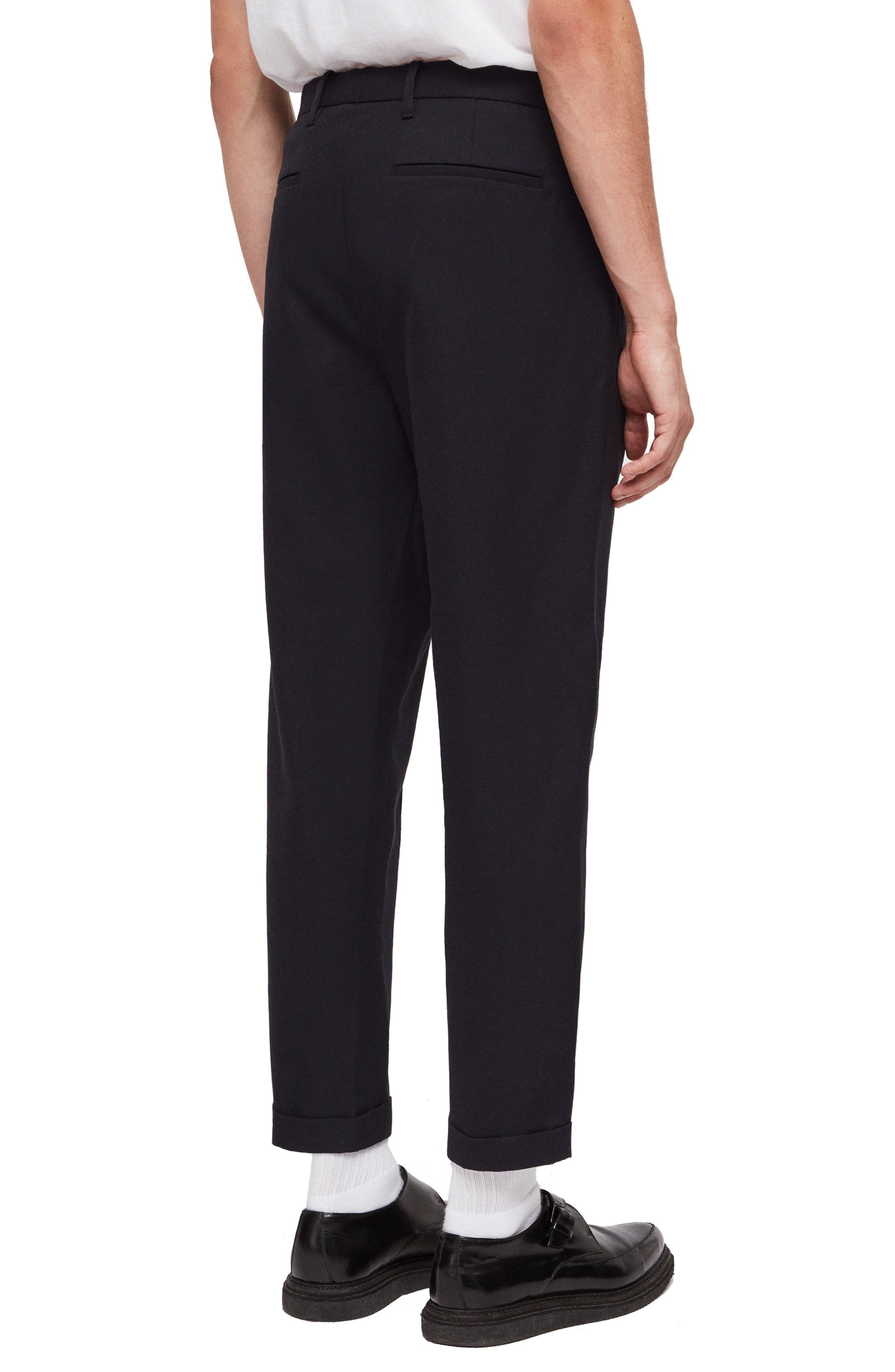 ALLSAINTS,                             Tallis Pleated Cotton & Wool Trousers,                             Alternate thumbnail 2, color,                             BLACK
