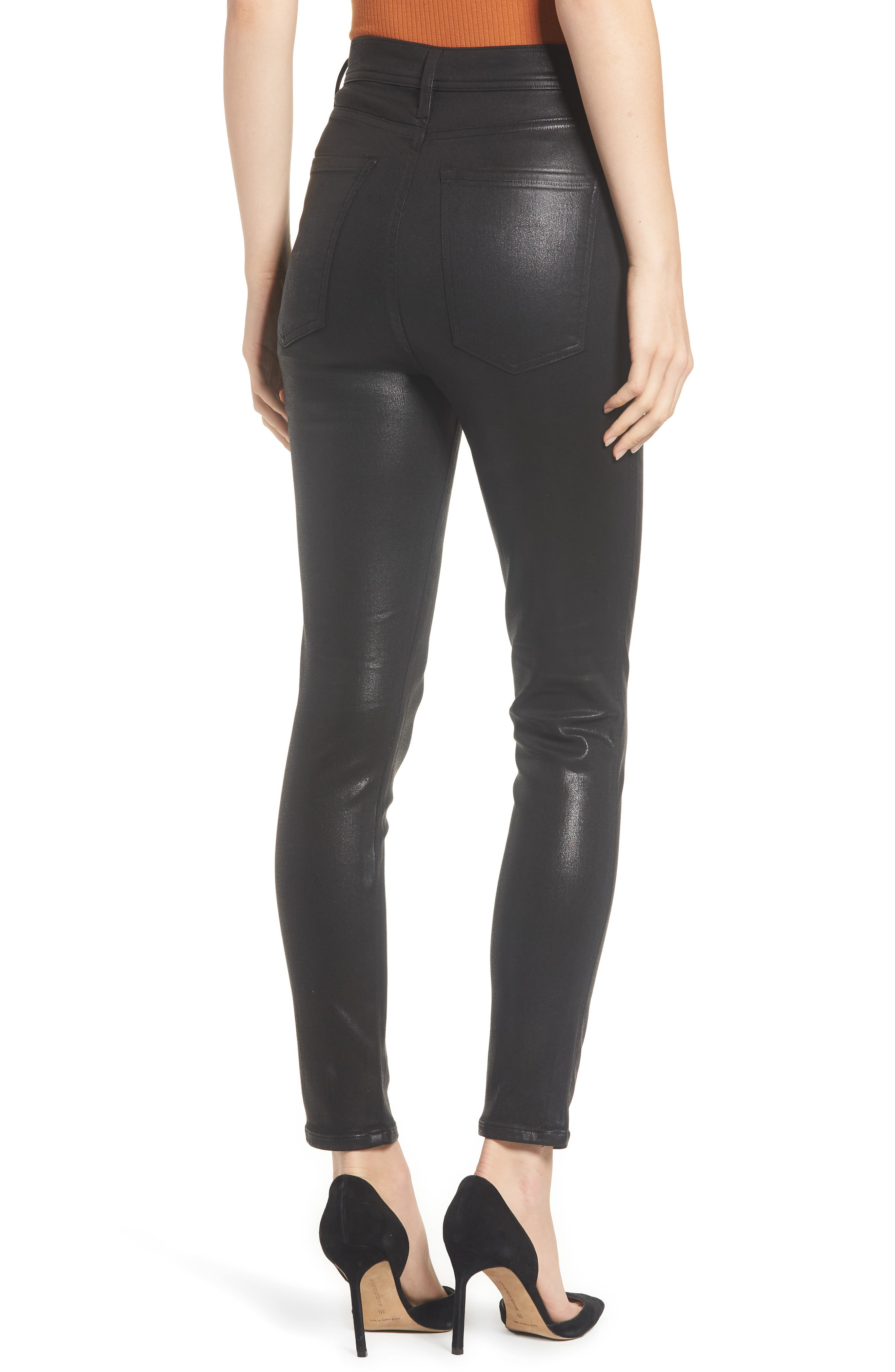 Roxanne Faux Leather High Waist Ankle Skinny Pants,                             Alternate thumbnail 2, color,                             007