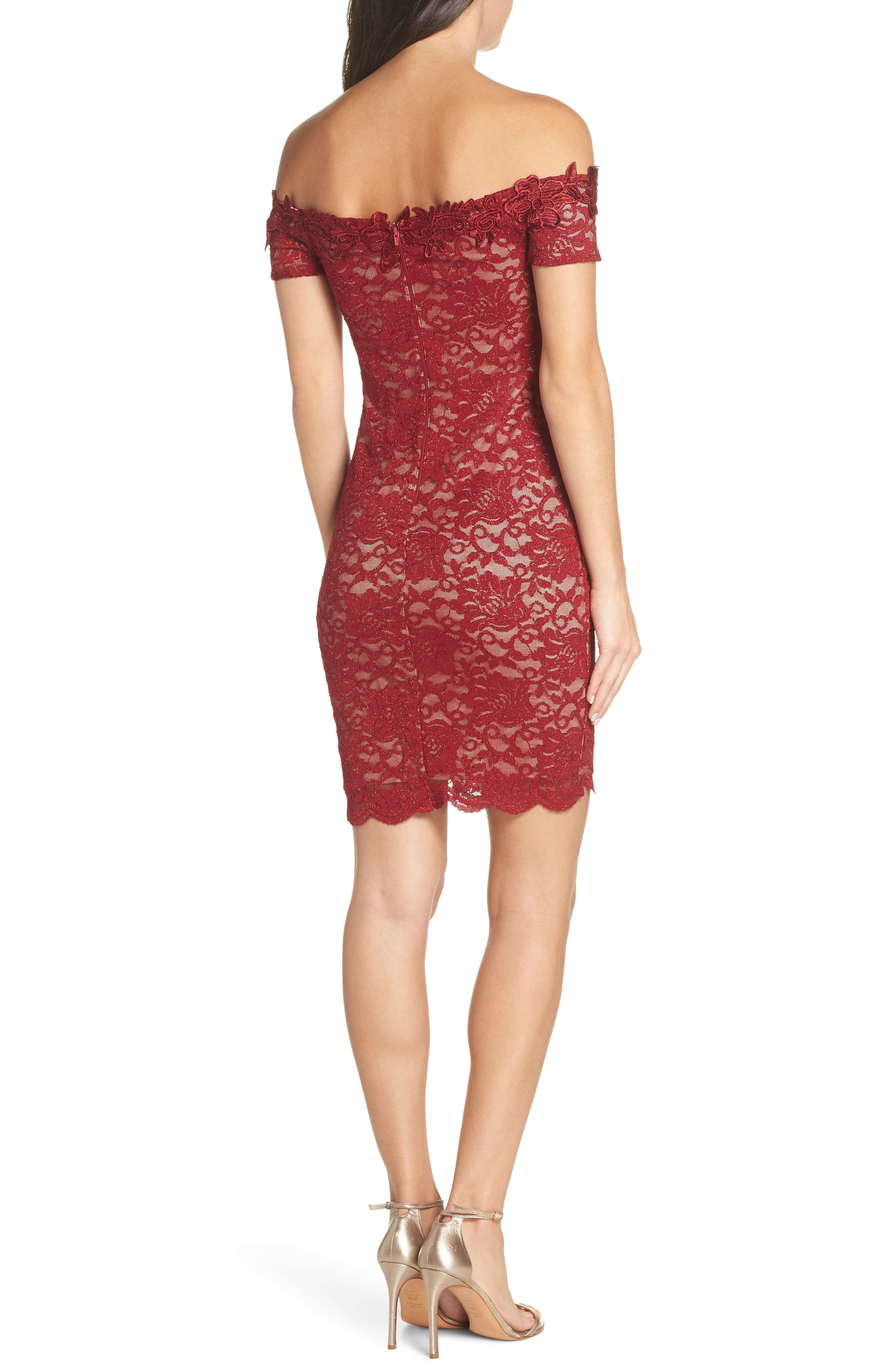 Off the Shoulder Glitter Lace Sheath,                             Alternate thumbnail 2, color,                             WINE/ NUDE