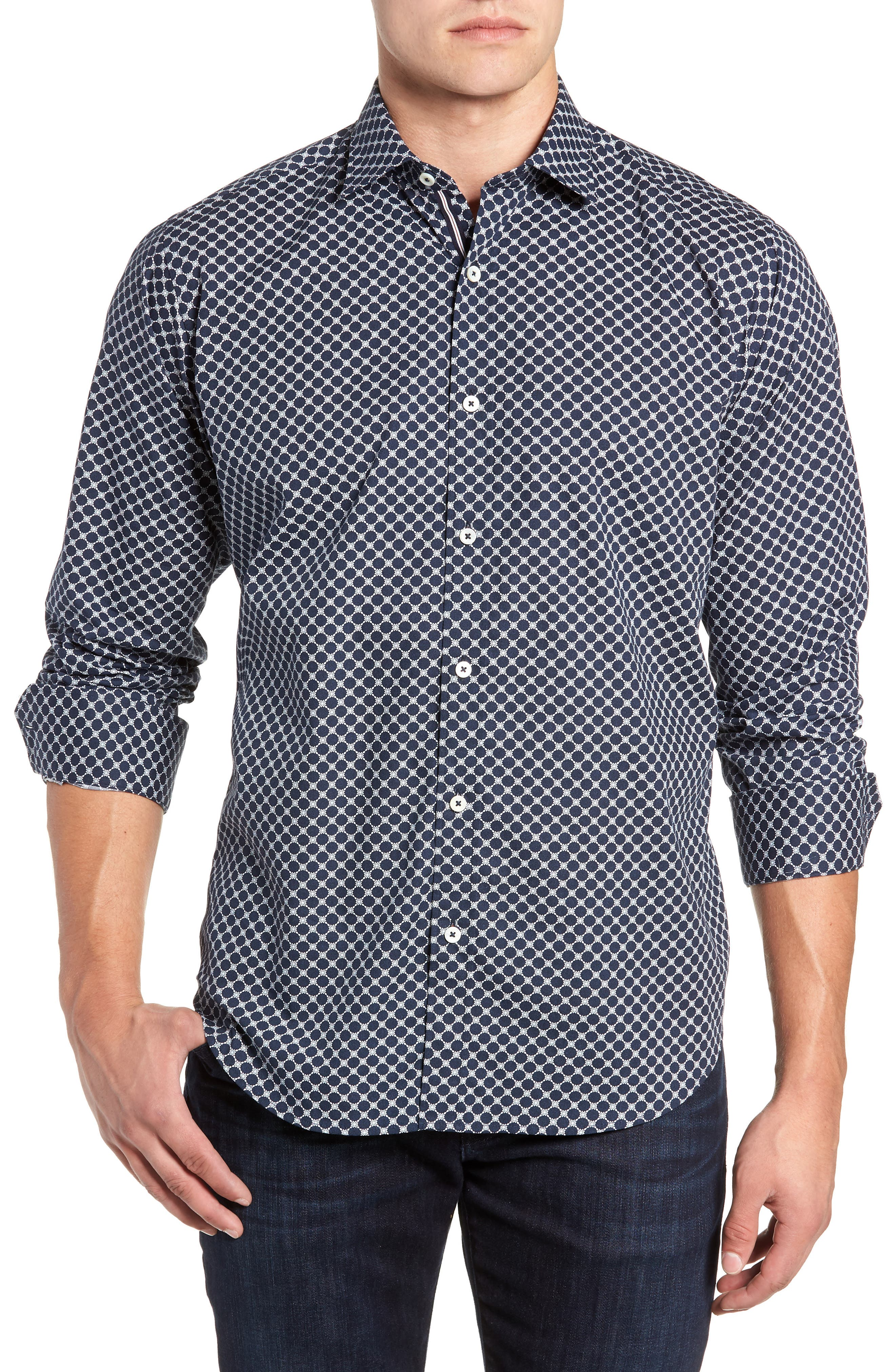 Classic Fit Sport Shirt,                         Main,                         color, MIDNIGHT