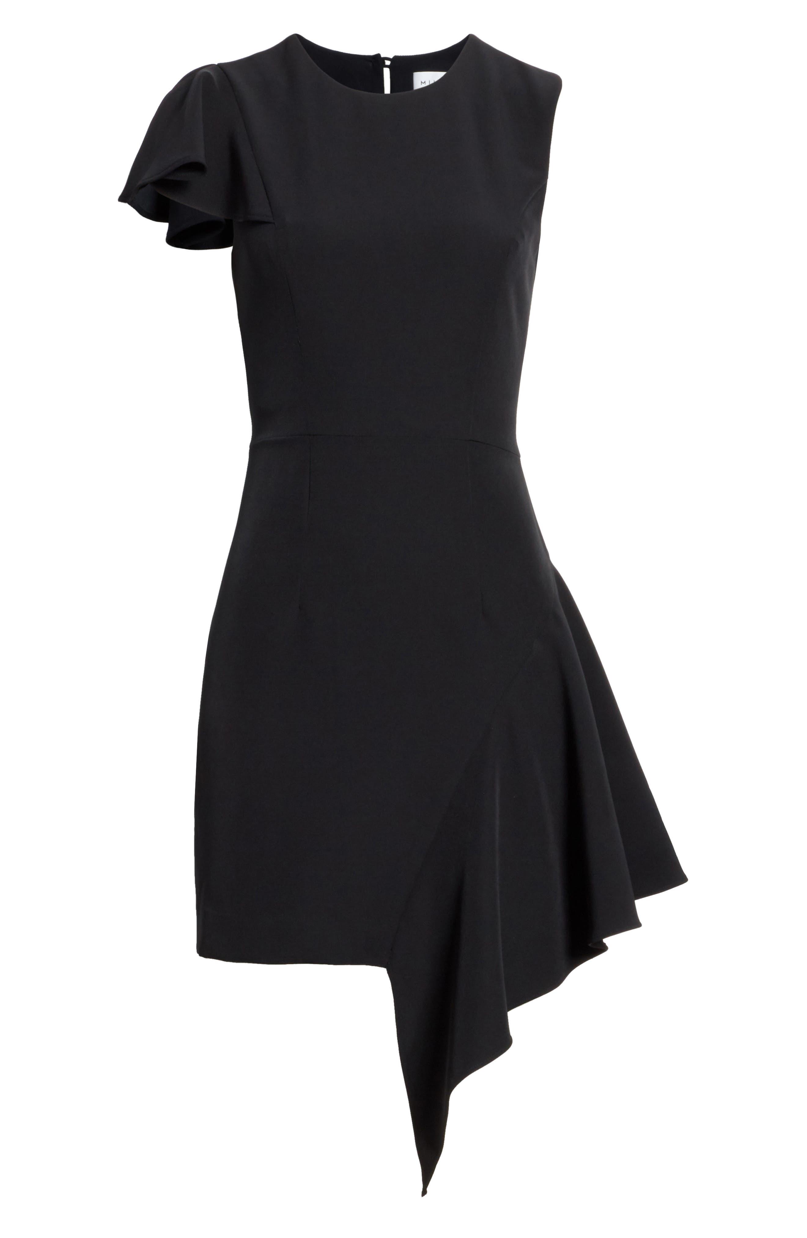 Asymmetrical Ruffle Stretch Cady Dress,                             Alternate thumbnail 6, color,                             001
