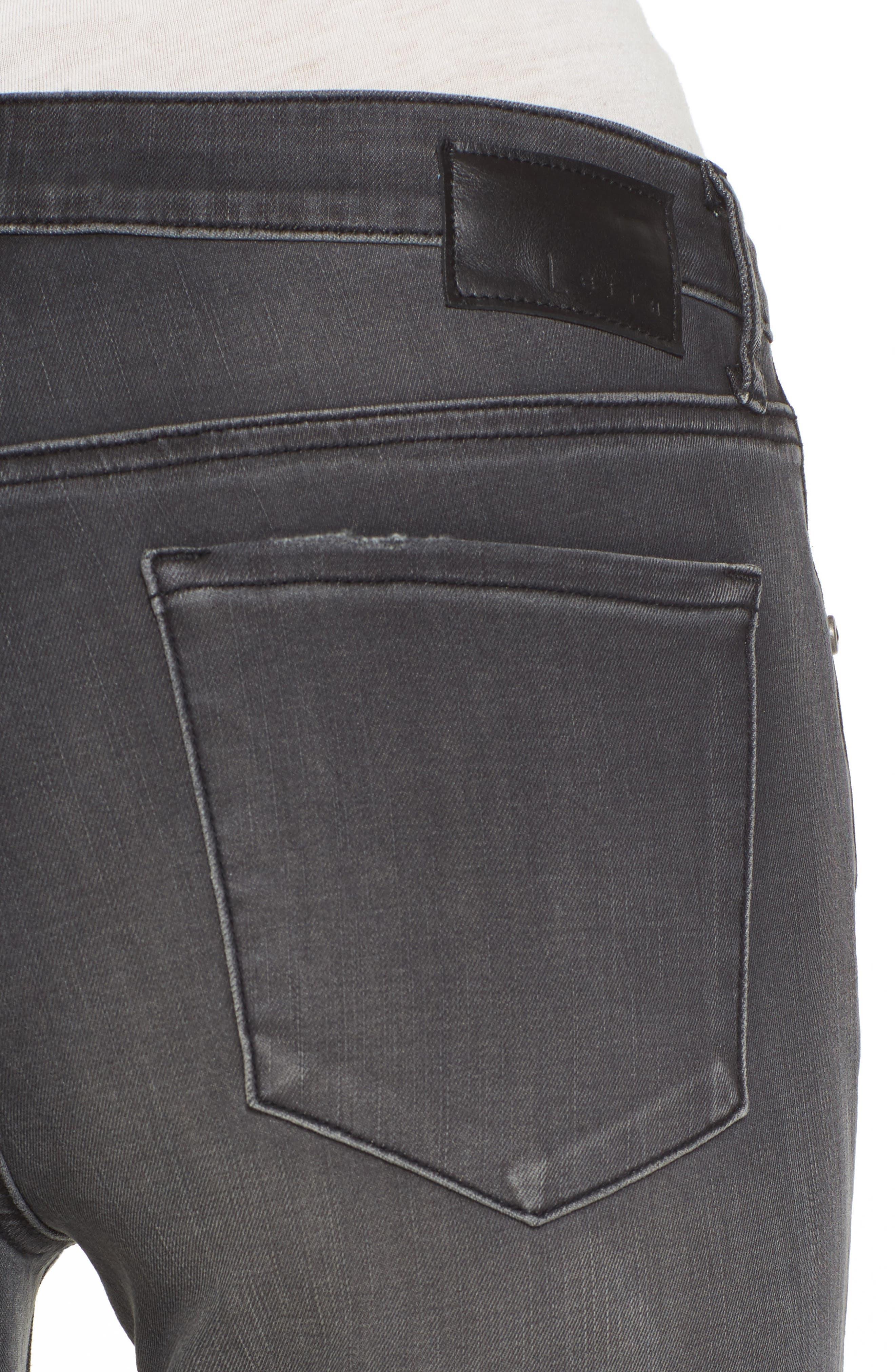 Frayed Hem Skinny Jeans,                             Alternate thumbnail 4, color,